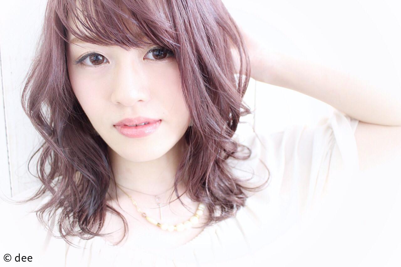 ラベンダーピンク ミディアム フェミニン リラックス ヘアスタイルや髪型の写真・画像 | dee / dee