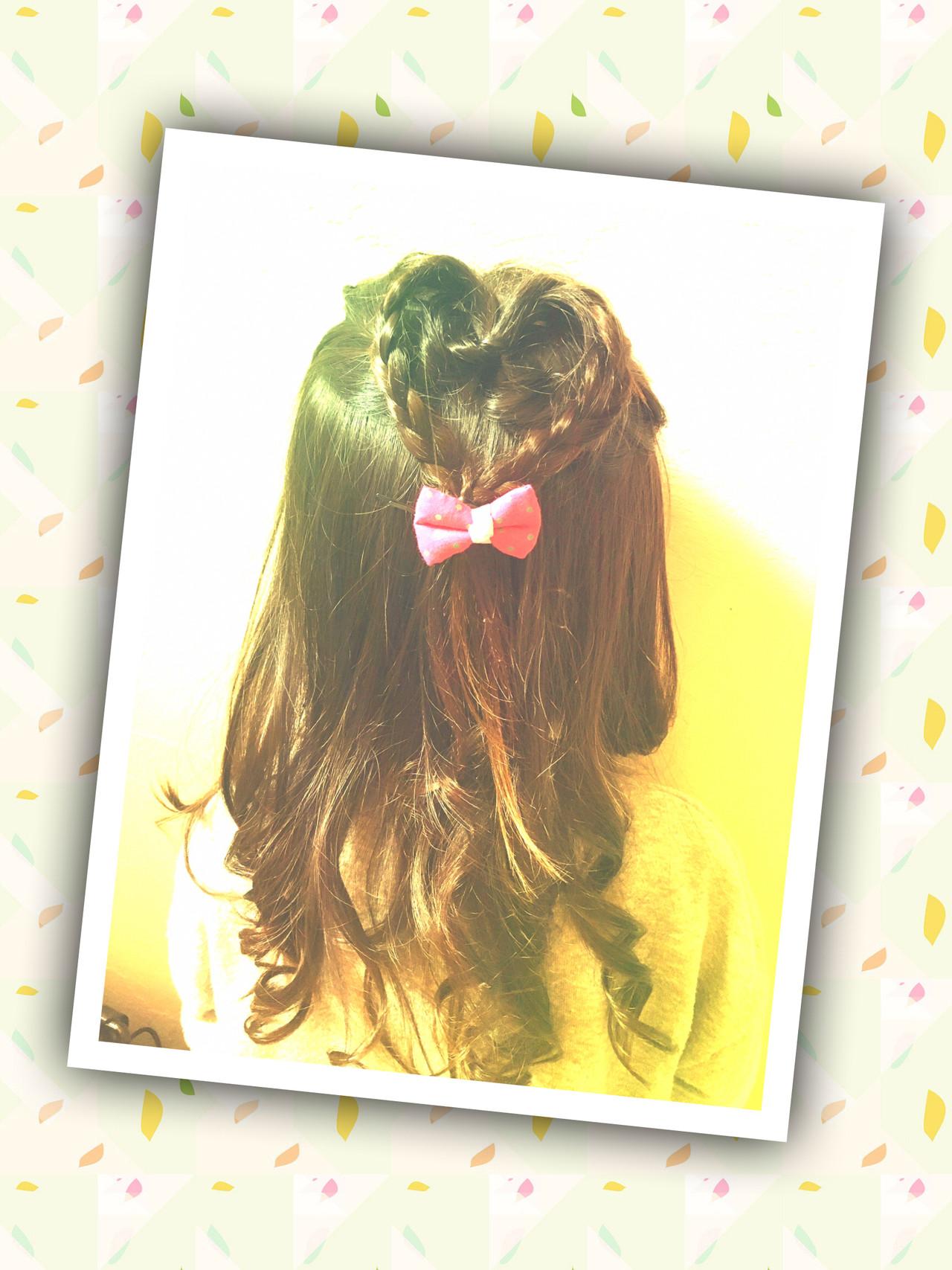 簡単ヘアアレンジ キッズ ヘアセット ガーリーヘアスタイルや髪型の写真・画像