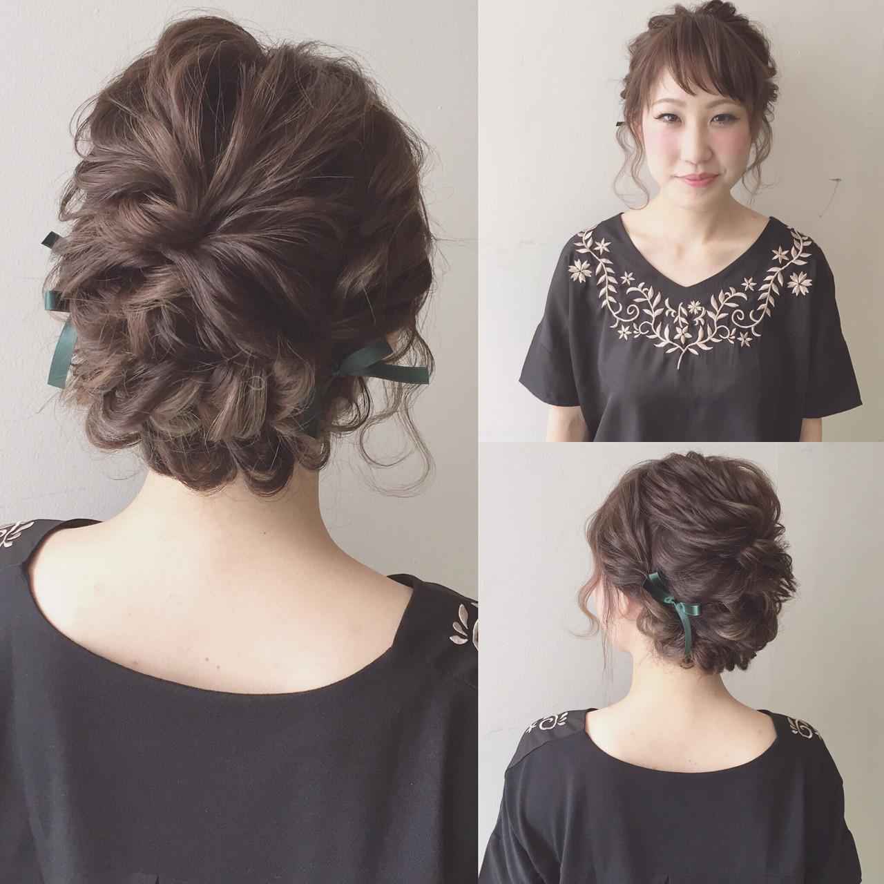 ミディアム ゆるふわ 結婚式 ヘアアレンジ ヘアスタイルや髪型の写真・画像   Kaneko Mayumi / BOTTOMS