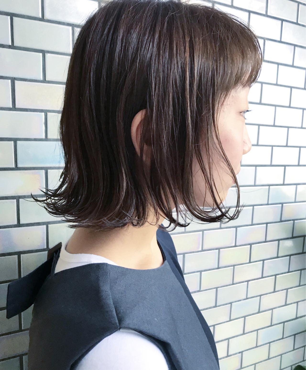 内巻き ボブ 切りっぱなし ワンカールヘアスタイルや髪型の写真・画像