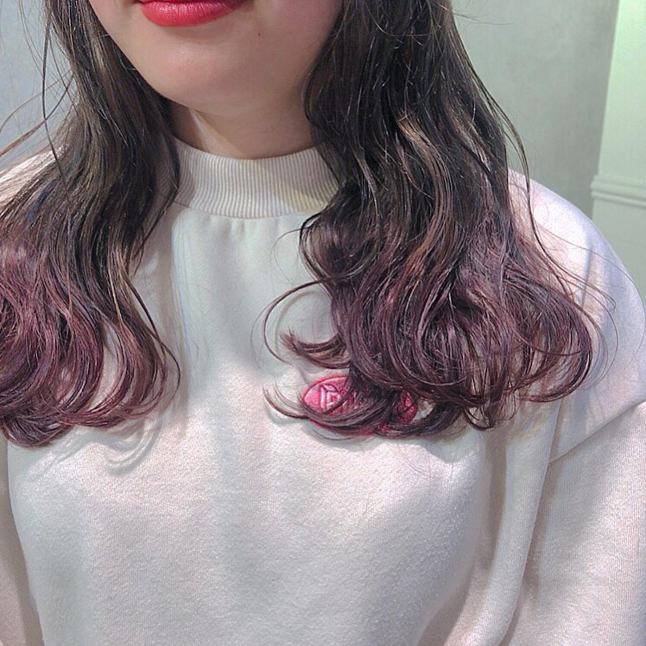 グラデーションカラー 裾カラー ガーリー セミロング ヘアスタイルや髪型の写真・画像 | 永澤佑衣 / December