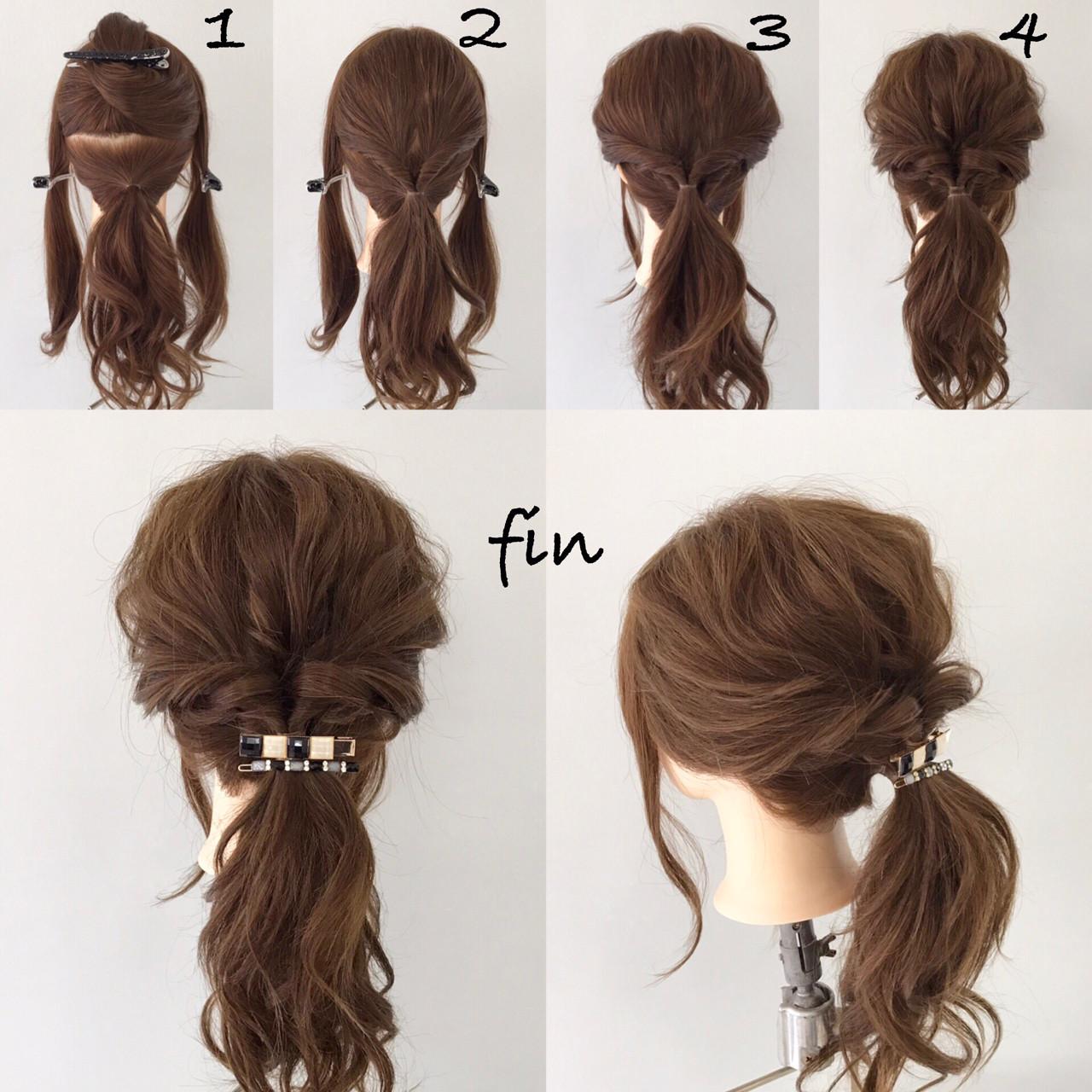ヘアアレンジ ポニーテール ロング 簡単ヘアアレンジヘアスタイルや髪型の写真・画像