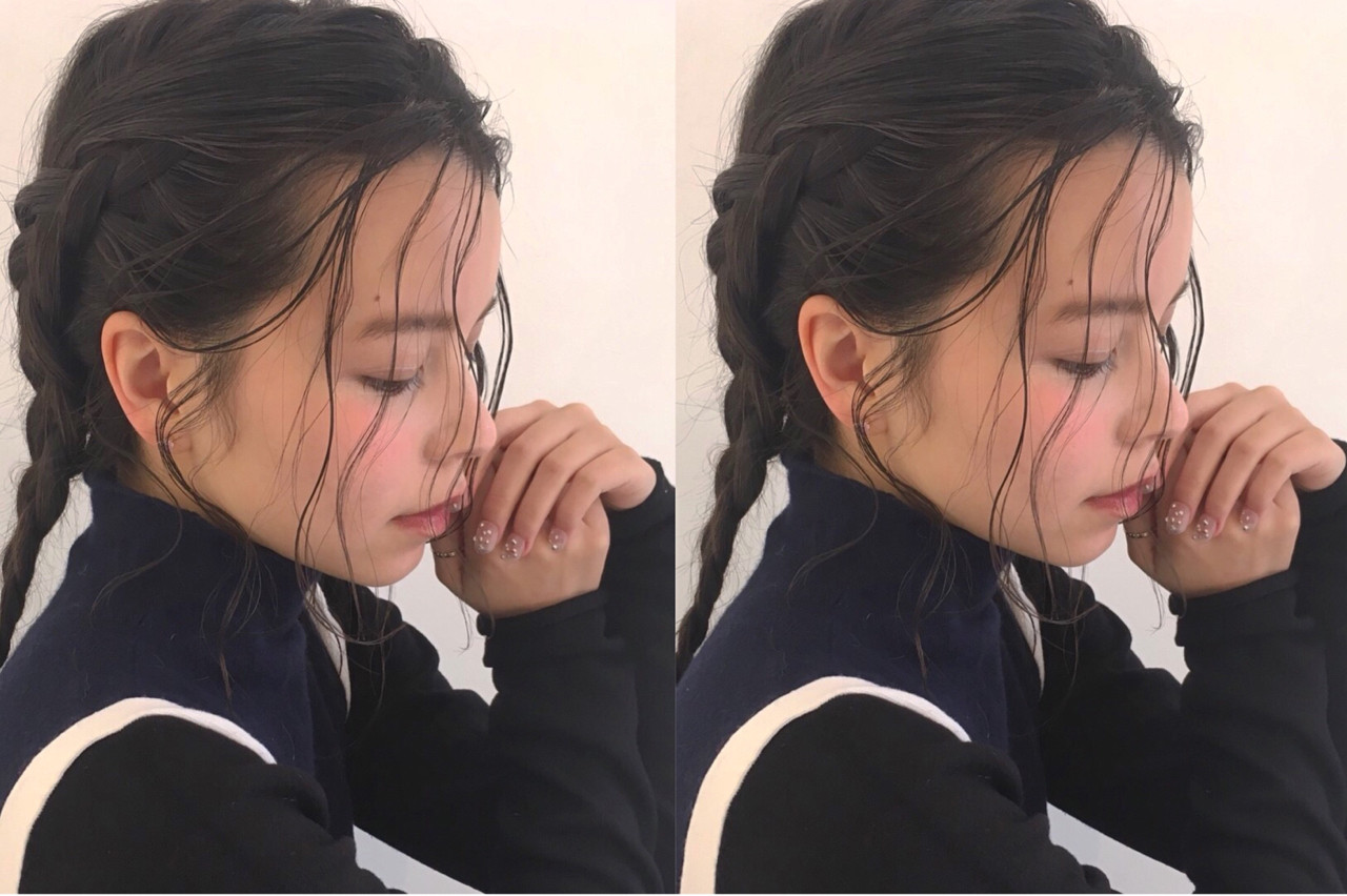 透明感 後れ毛 三つ編み ヘアアレンジ ヘアスタイルや髪型の写真・画像 | Rie Akita / LOAVE omotesando
