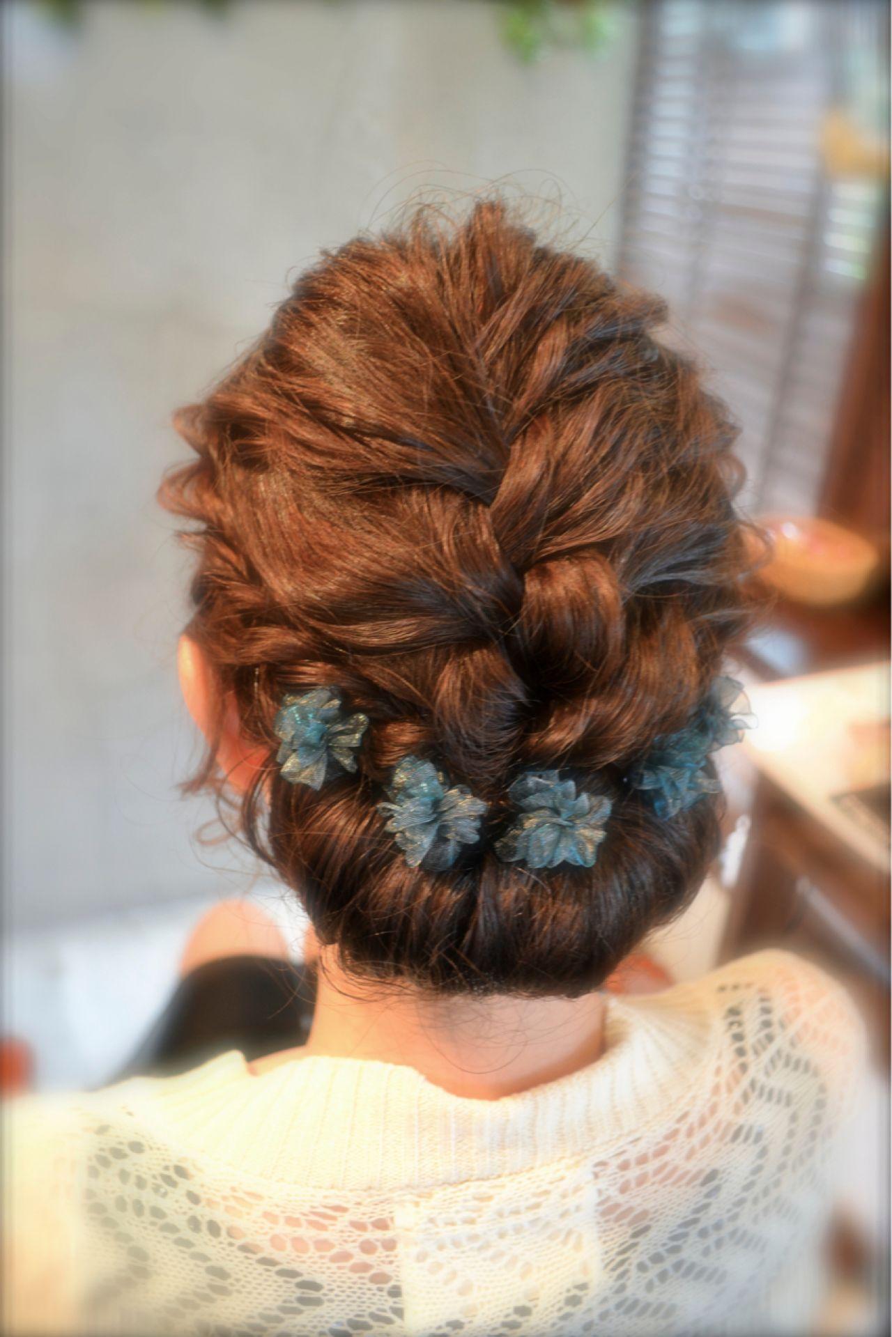 結婚式 ナチュラル 大人かわいい 三つ編み ヘアスタイルや髪型の写真・画像 | ますだあいり / RIPE