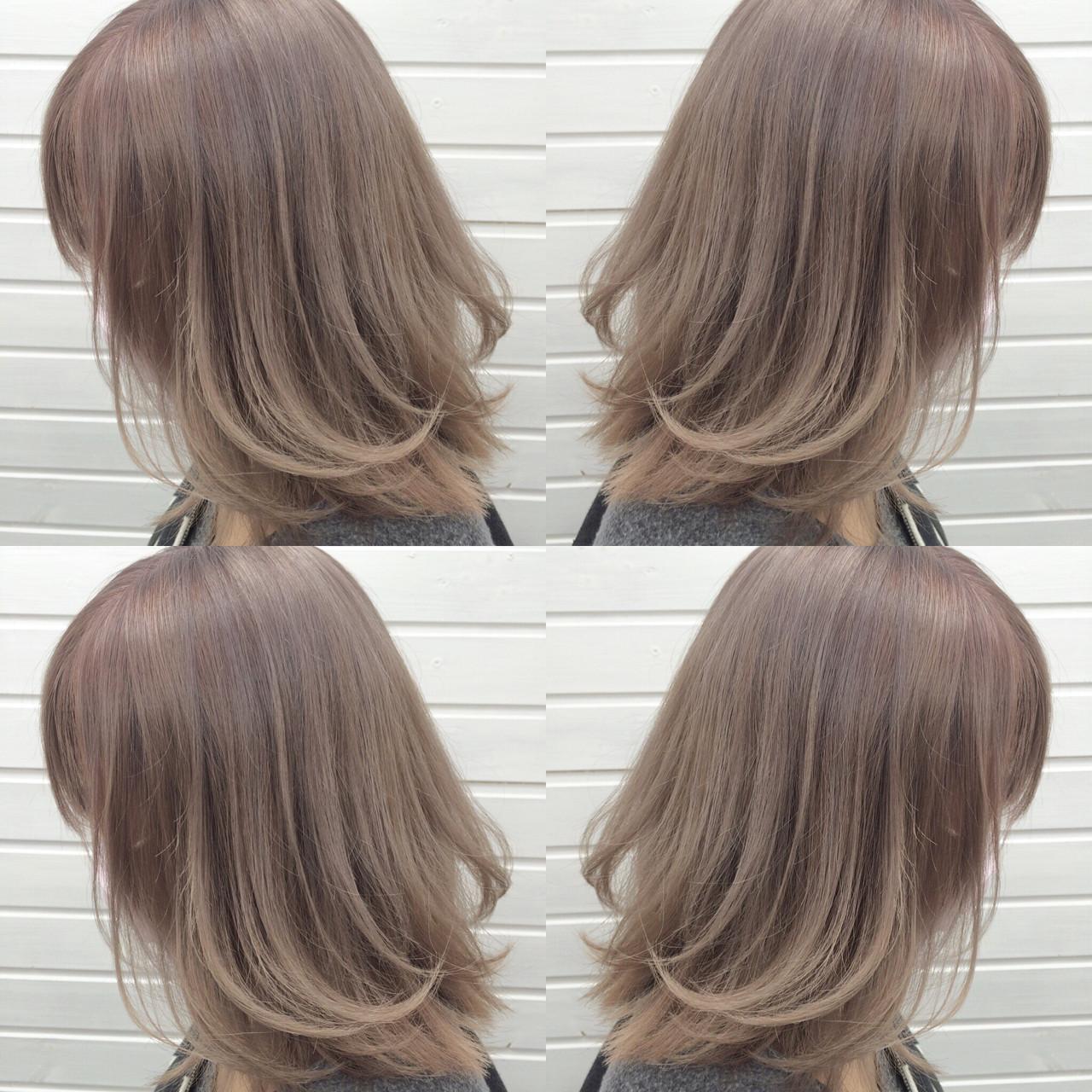 ミディアム ブリーチ ラベンダーアッシュ アッシュ ヘアスタイルや髪型の写真・画像 | universe / hairspaceuniverse