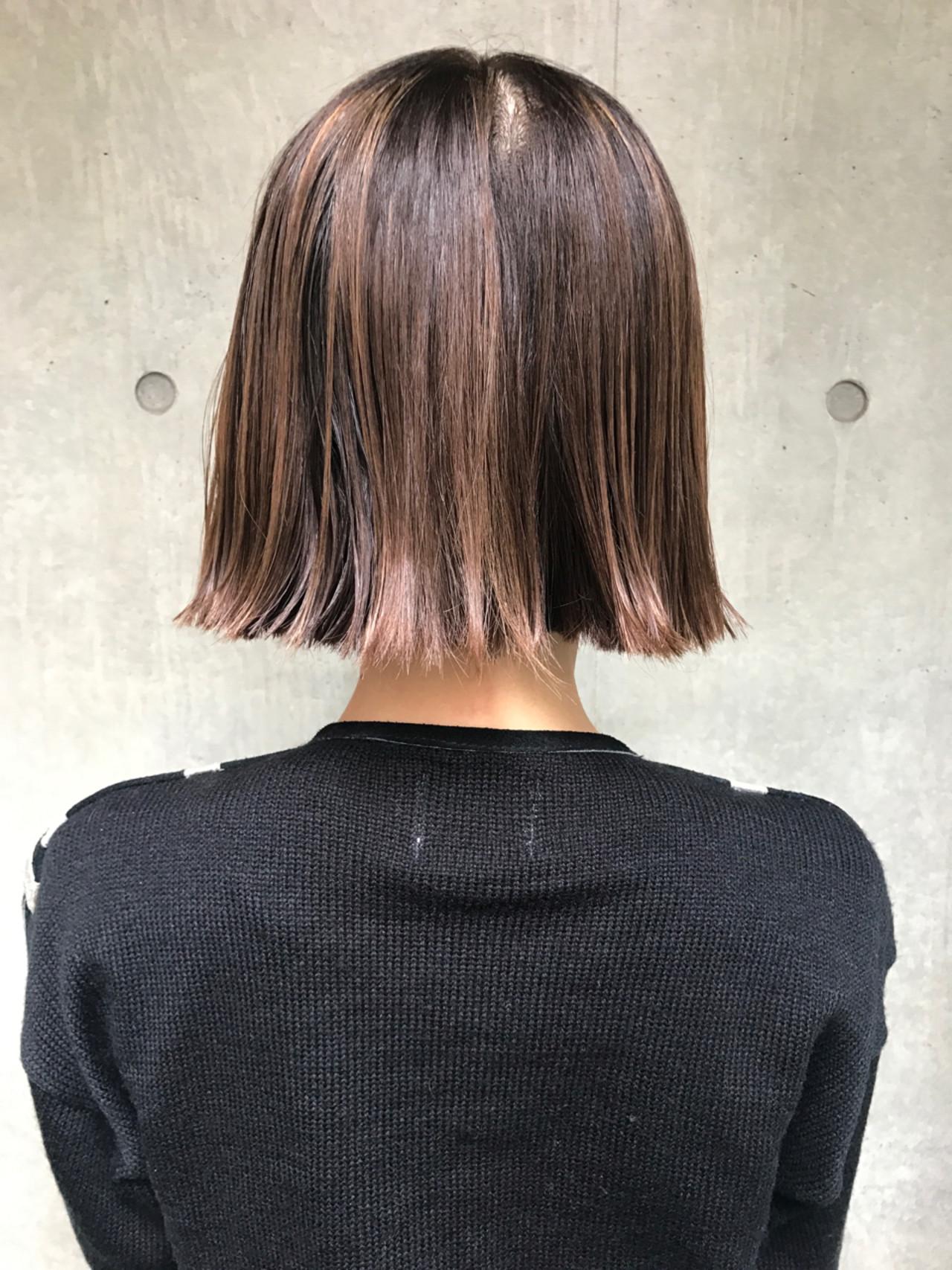 ボブ ハイライト ニュアンス モードヘアスタイルや髪型の写真・画像