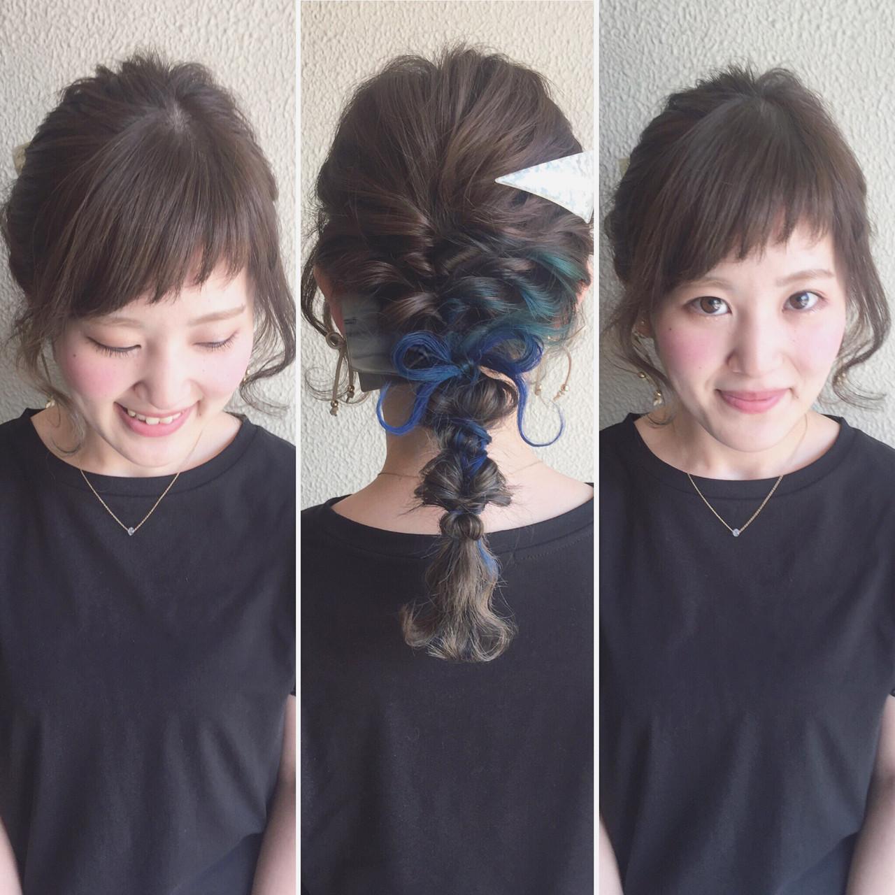 大人かわいい インナーカラー セミロング ヘアアレンジ ヘアスタイルや髪型の写真・画像   カワノ ヨウヘイ / GATE.