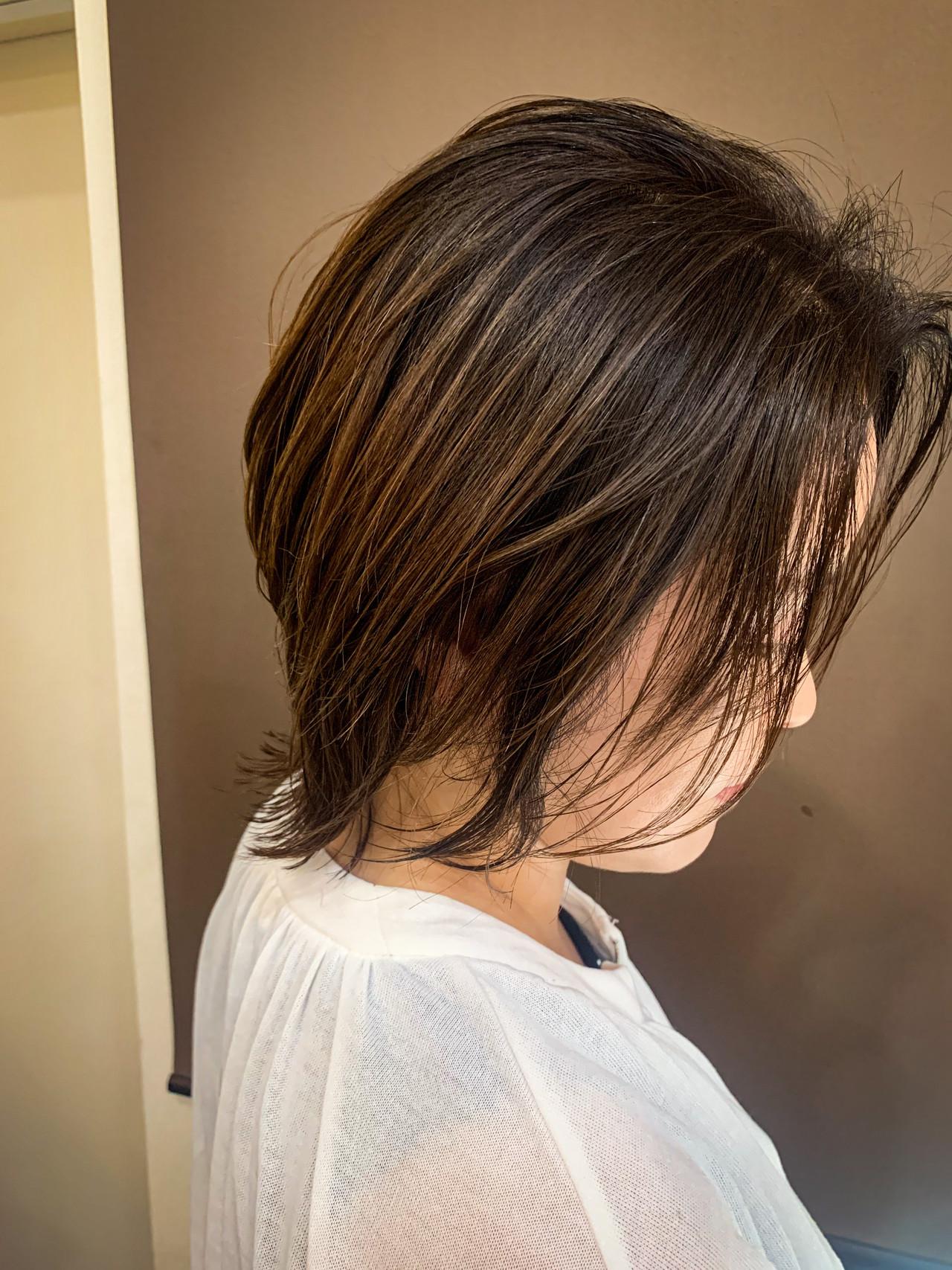 アンニュイ ミディアム 外ハネ ナチュラル ヘアスタイルや髪型の写真・画像 | 川崎雄三 / 株式会社 L