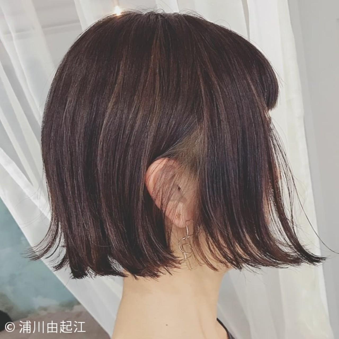 インナーカラー ハイライト 外ハネ ボブ ヘアスタイルや髪型の写真・画像 | 浦川由起江 / nanon
