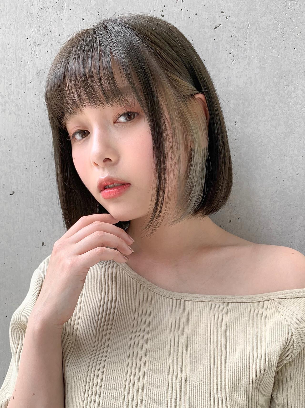 小顔ヘア 丸みショート 透明感カラー ショートボブ ヘアスタイルや髪型の写真・画像