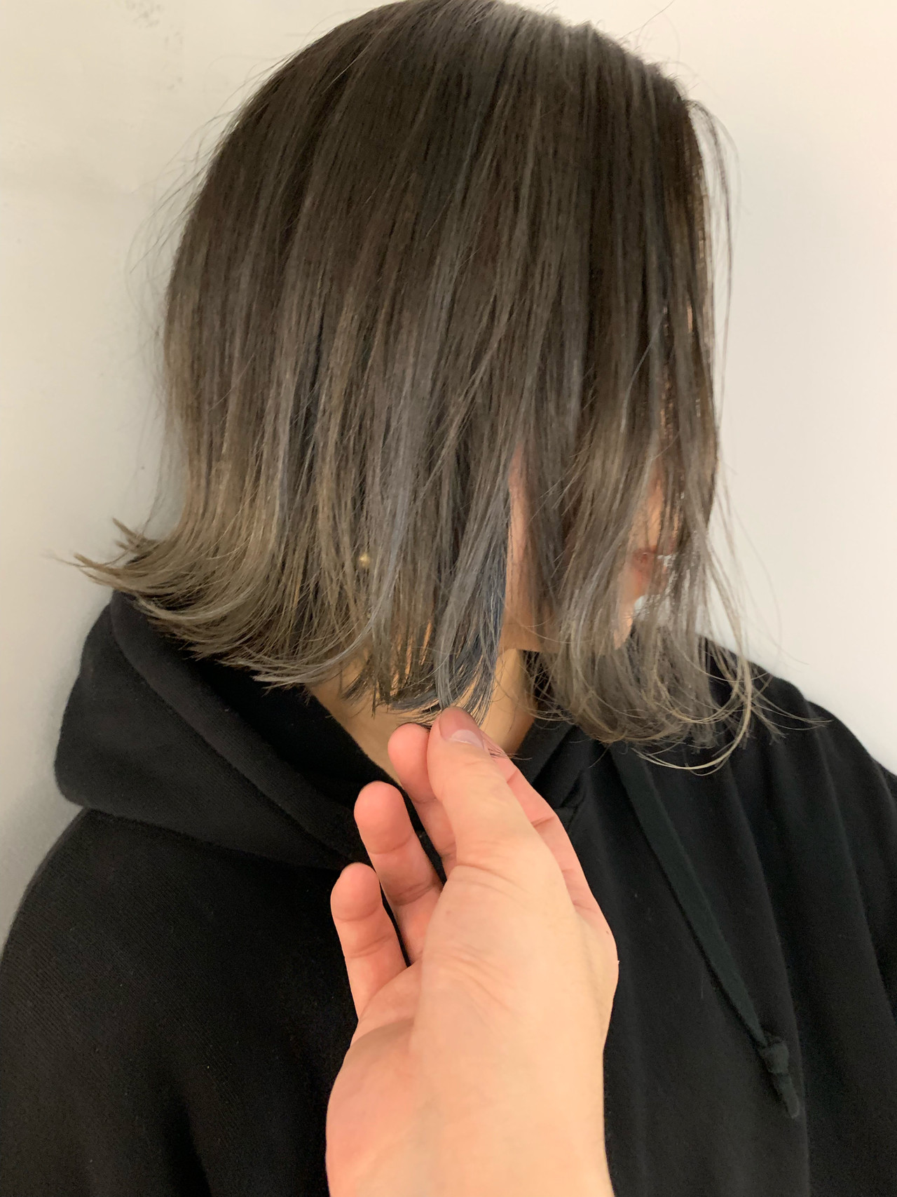 バレイヤージュ アッシュグラデーション 外ハネボブ ナチュラル ヘアスタイルや髪型の写真・画像 | miya/@1031miya / フリーランス(XENA)
