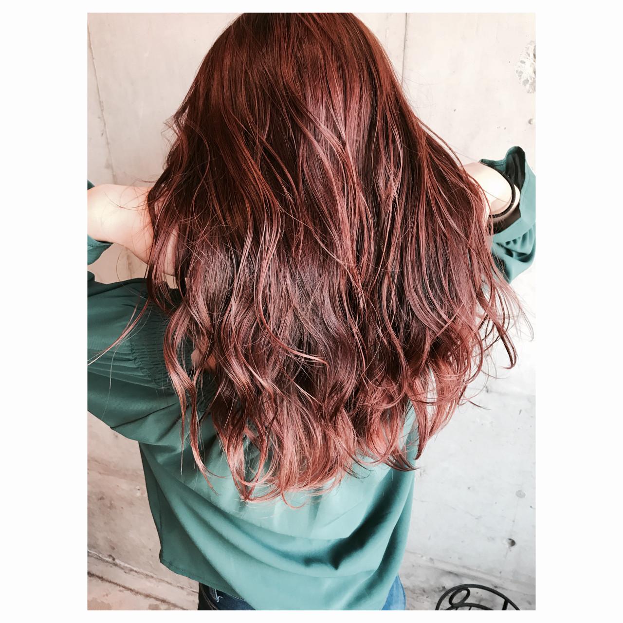 ピンク ウェットヘア 秋 カッパー ヘアスタイルや髪型の写真・画像   玉城 瑞萌 / Haircolor&Eyelash PORT