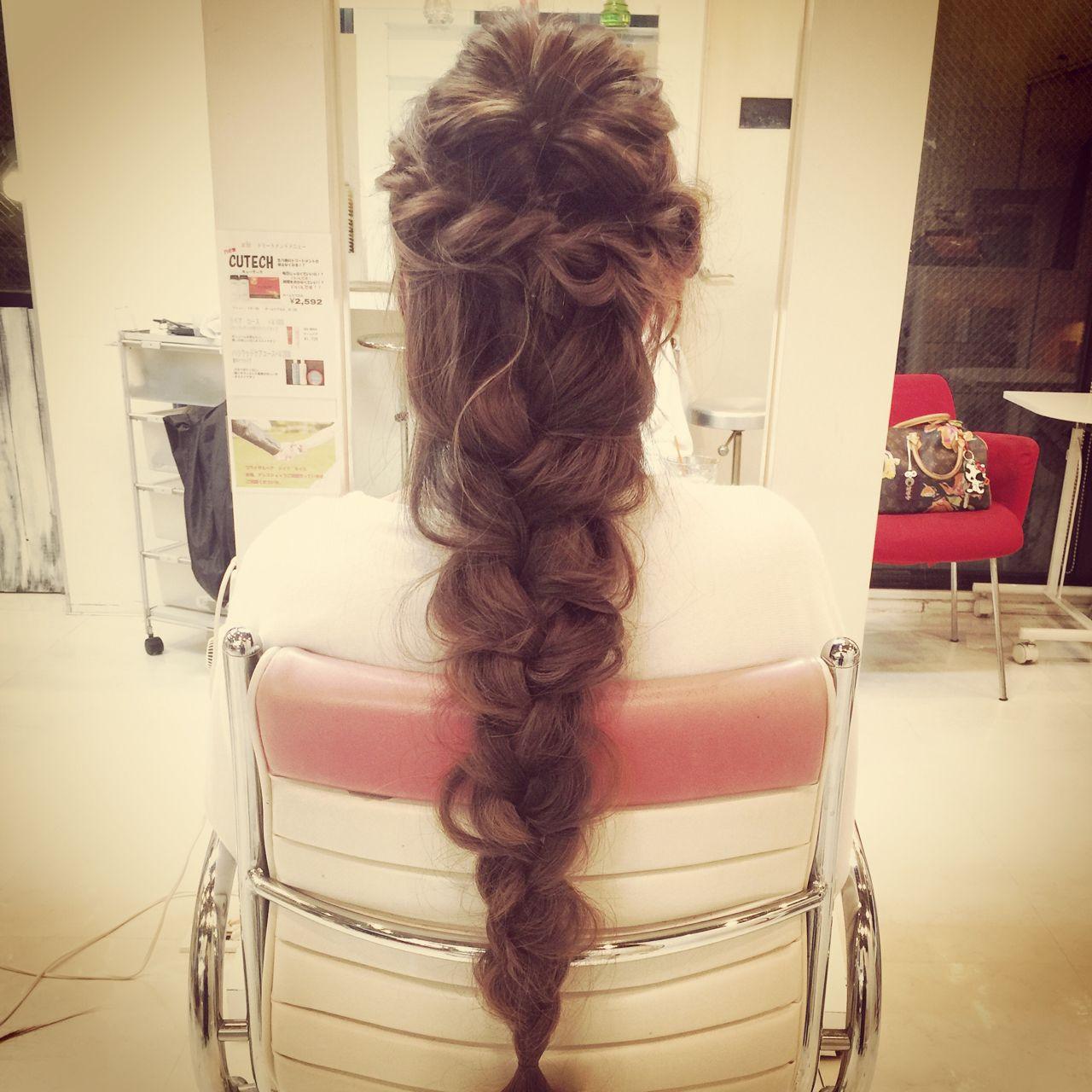 編み込み ヘアアレンジ コンサバ 結婚式 ヘアスタイルや髪型の写真・画像   内田 一也 / hair/nail space a:le