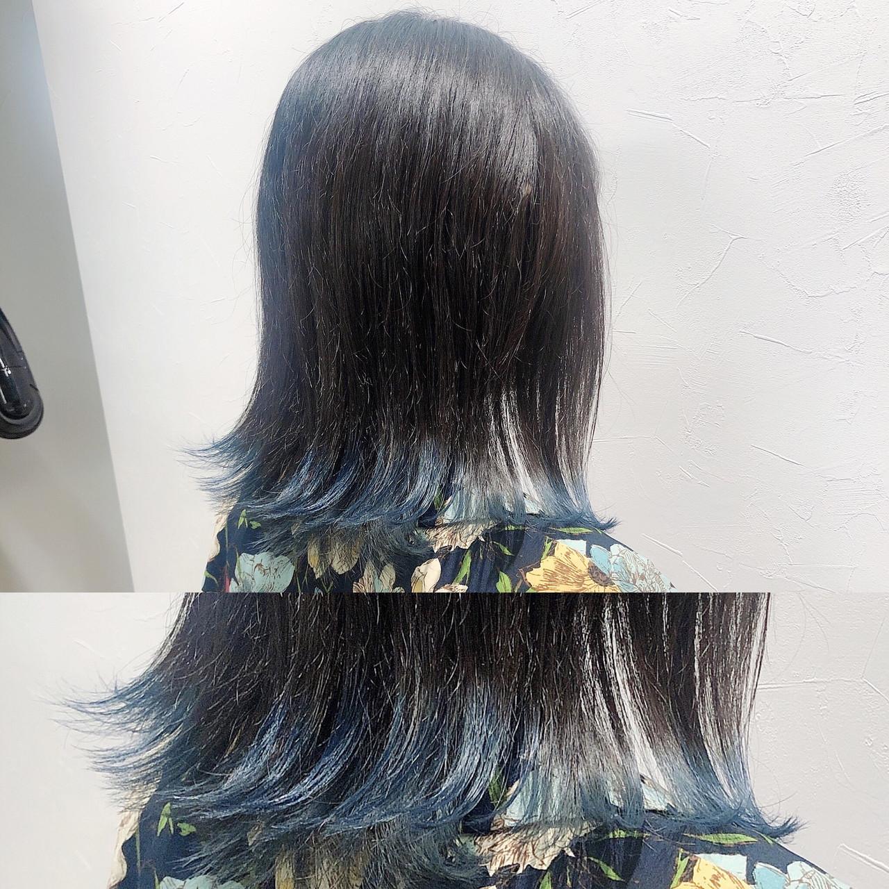 ボブ 暗髪 ナチュラル インナーカラー ヘアスタイルや髪型の写真・画像 | 佐藤高徳 / RAFTOKYO