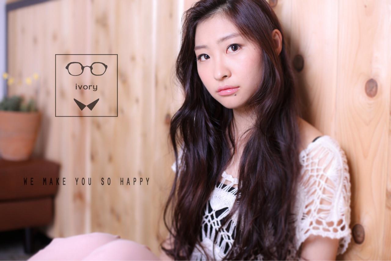 ピュア 黒髪 ロング ゆるふわ ヘアスタイルや髪型の写真・画像 | ivory 田中慧 / ivory