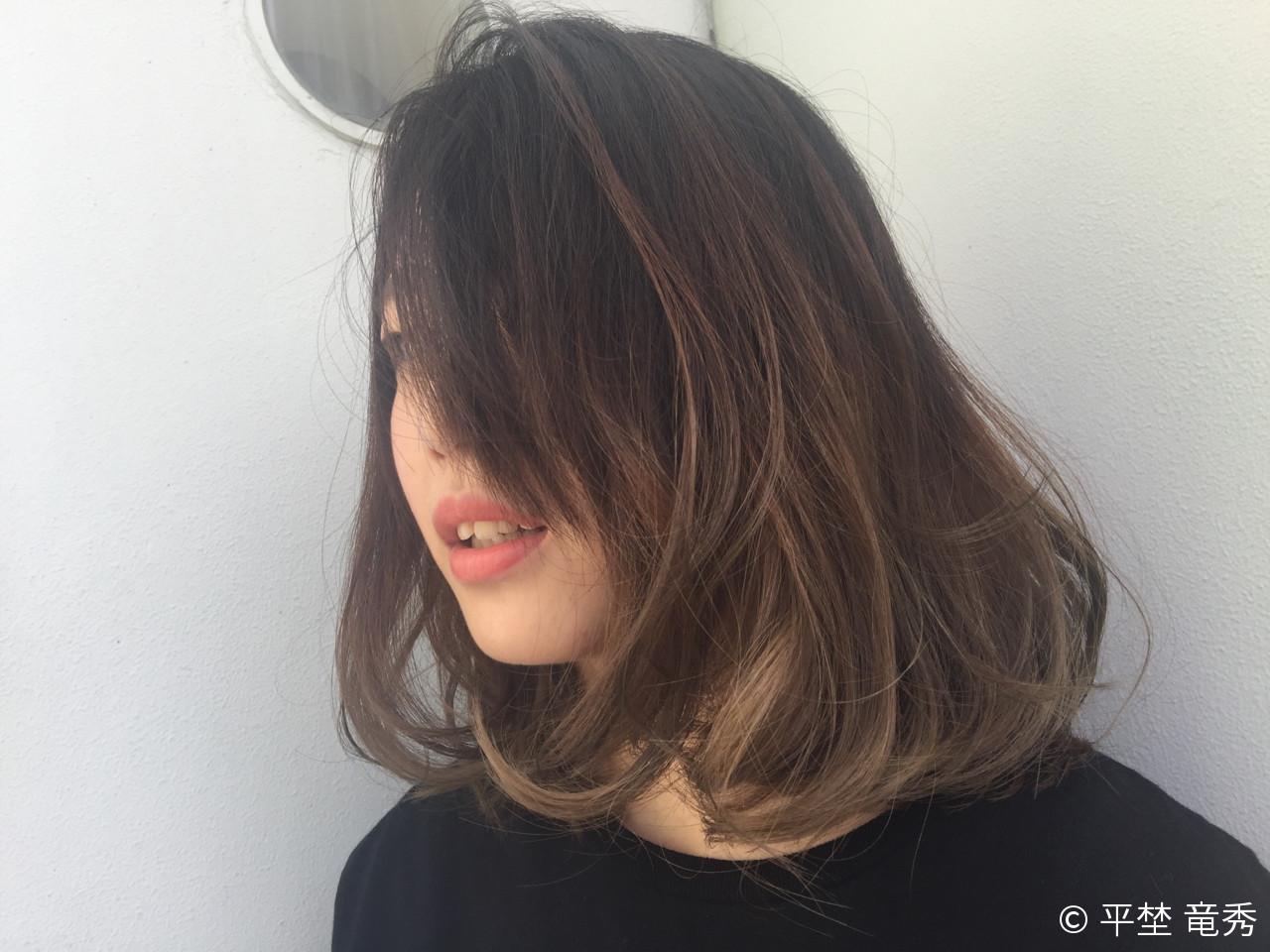 外国人風 グラデーションカラー パーマ ミディアム ヘアスタイルや髪型の写真・画像 | 平埜 竜秀 / fabric RED✖︎DOOR