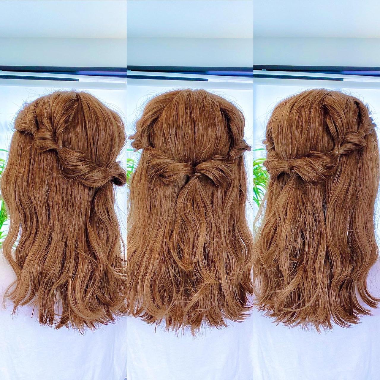 ハーフアップ ロング ヘアアレンジ 切りっぱなしボブ ヘアスタイルや髪型の写真・画像