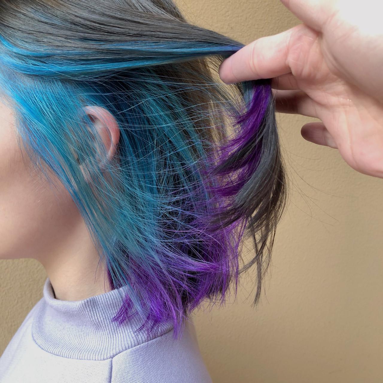 ターコイズブルー バイオレット パープル ボブヘアスタイルや髪型の写真・画像
