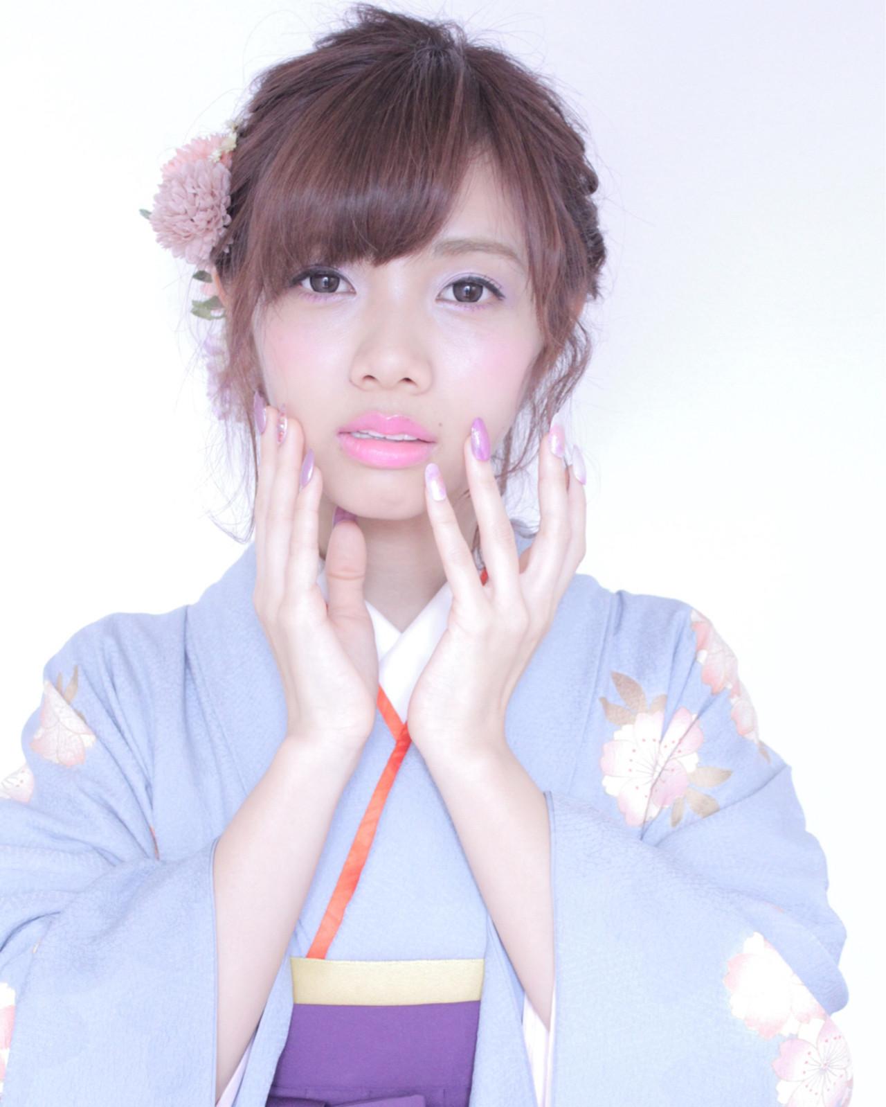 袴 ヘアアレンジ ボブ ガーリー ヘアスタイルや髪型の写真・画像 | 堂園知里 / hair Mission