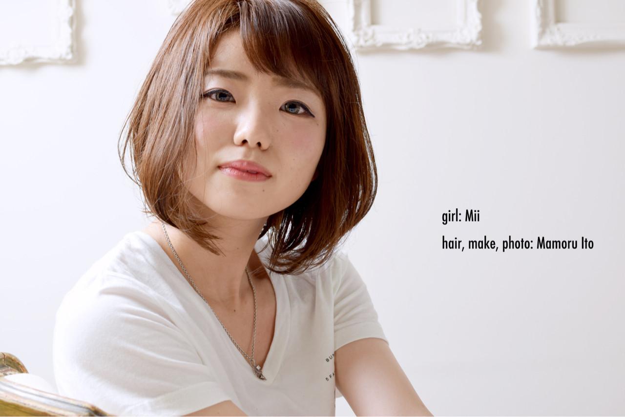 ナチュラル ボブ 前下がり イルミナカラー ヘアスタイルや髪型の写真・画像 | Mamoru Ito / hair design space i.chi.e
