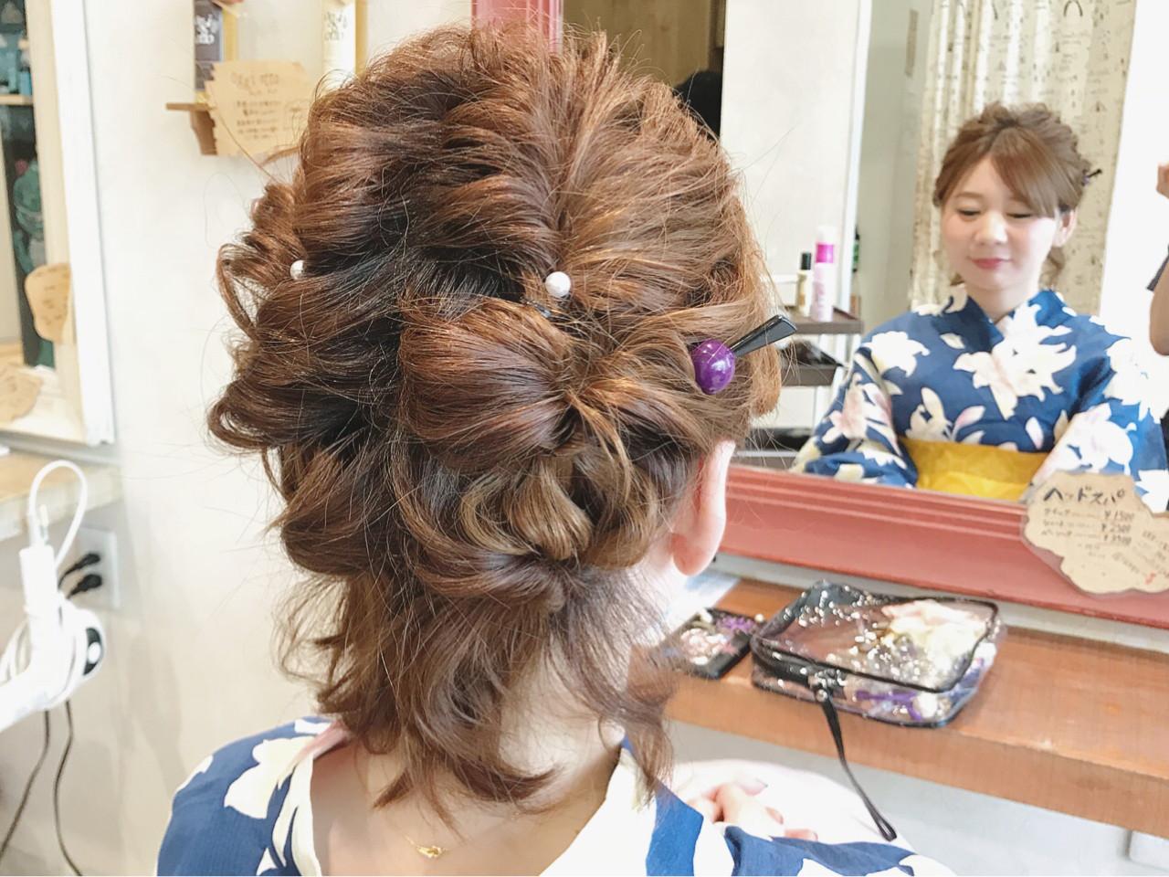 大人かわいい お祭り 和装 ヘアアレンジヘアスタイルや髪型の写真・画像
