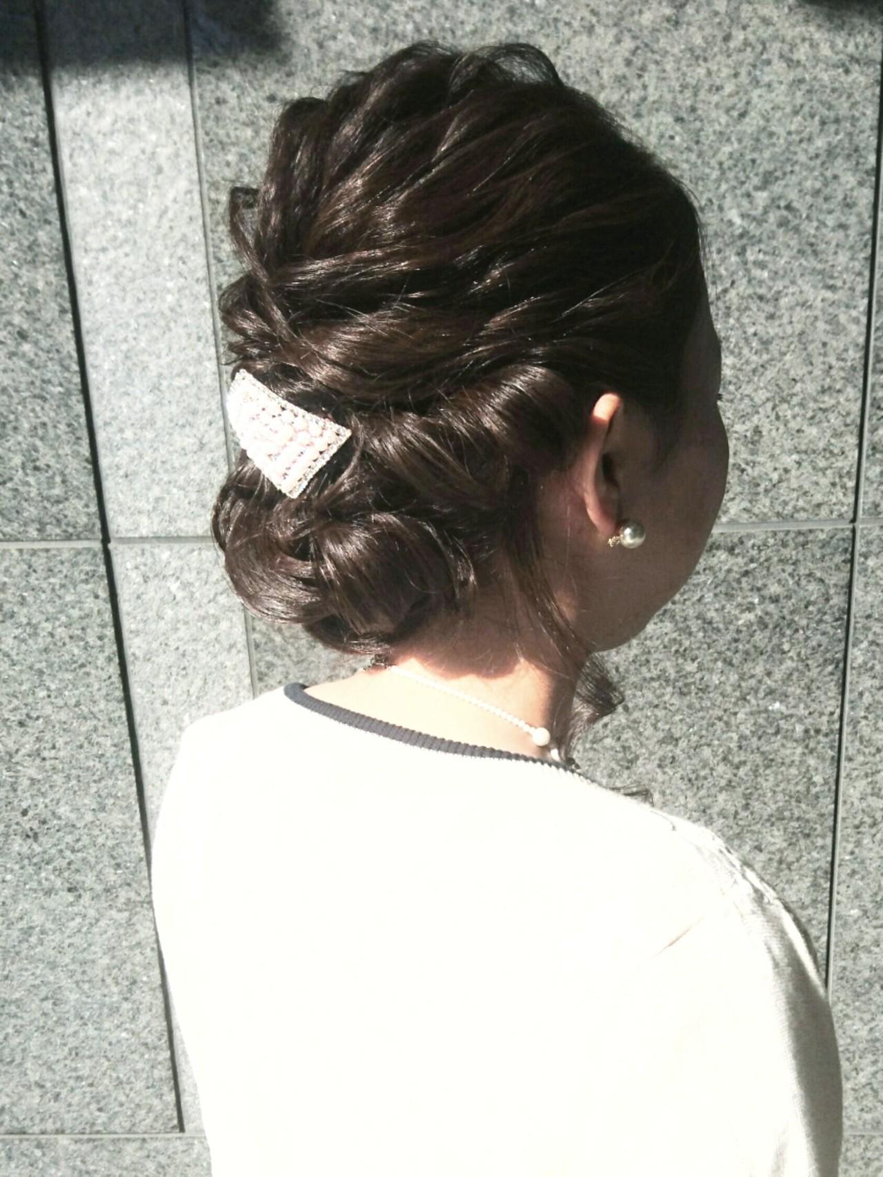 ヘアアレンジ セミロング 結婚式 ナチュラル ヘアスタイルや髪型の写真・画像 | 島田 和也 / total beauty house flap MICHI