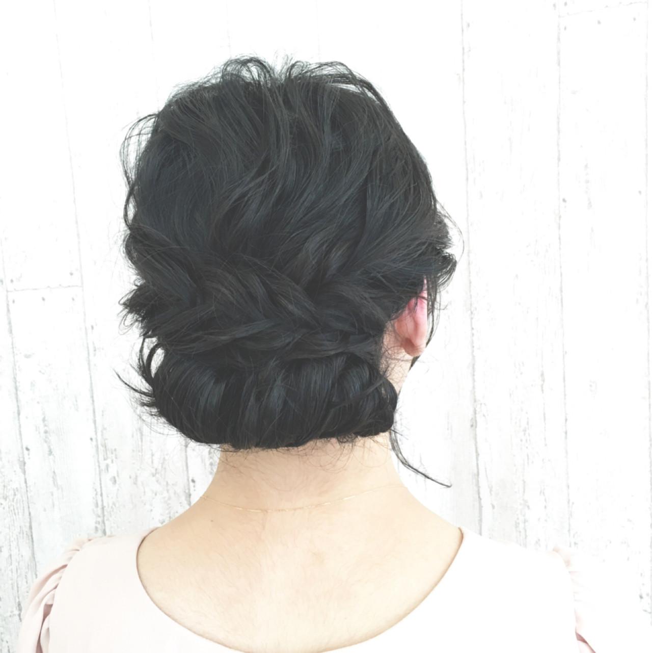 ゆるふわ 大人かわいい ヘアアレンジ 黒髪ヘアスタイルや髪型の写真・画像
