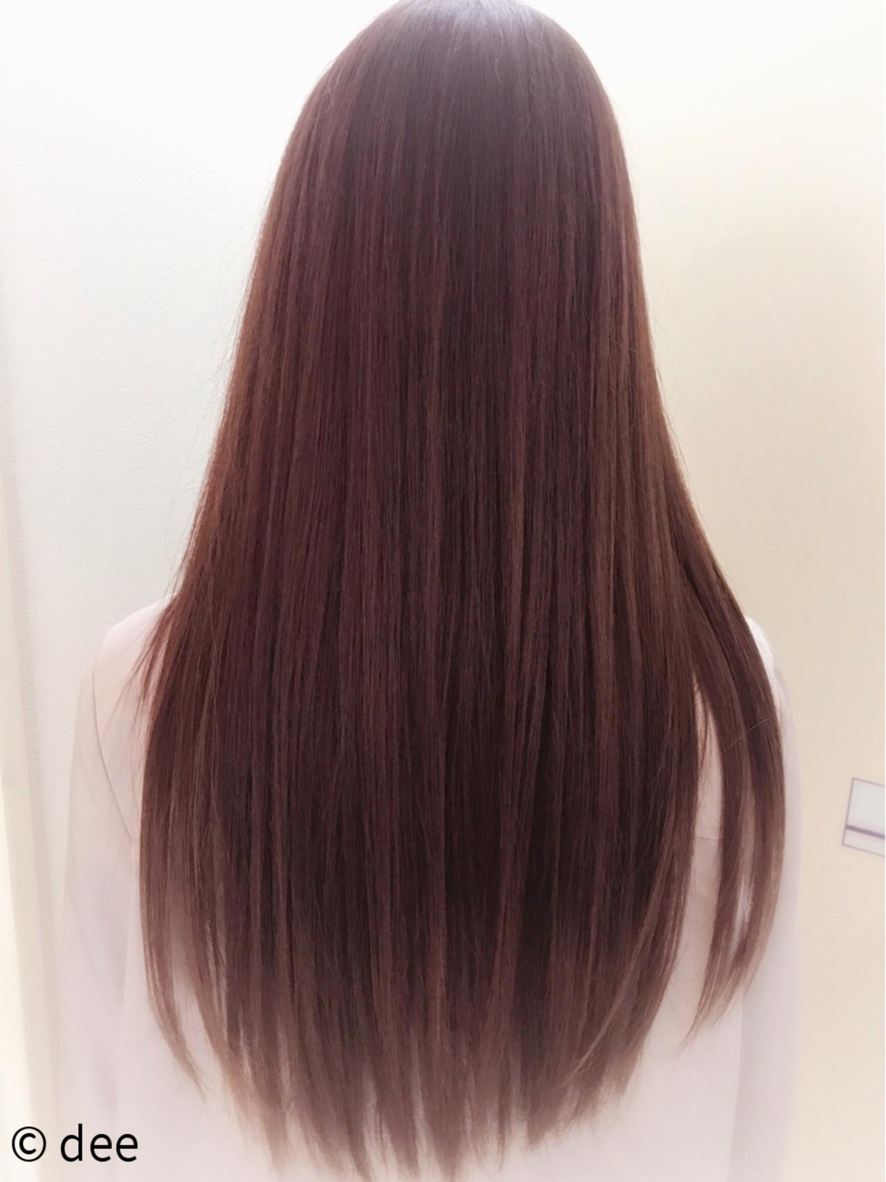 ベージュ ピンク ストレート レッドヘアスタイルや髪型の写真・画像