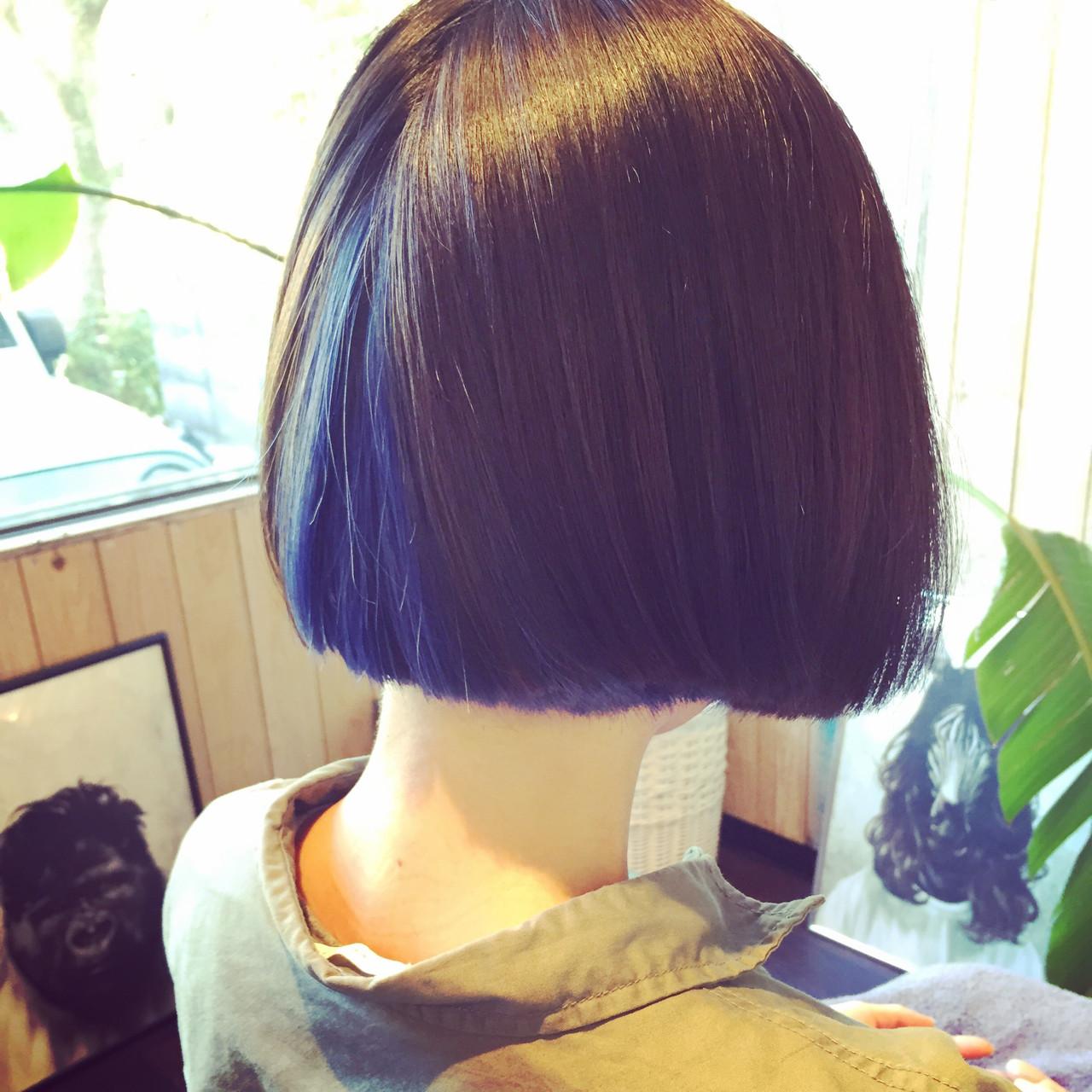 インナーカラー ストリート ボブ アッシュヘアスタイルや髪型の写真・画像