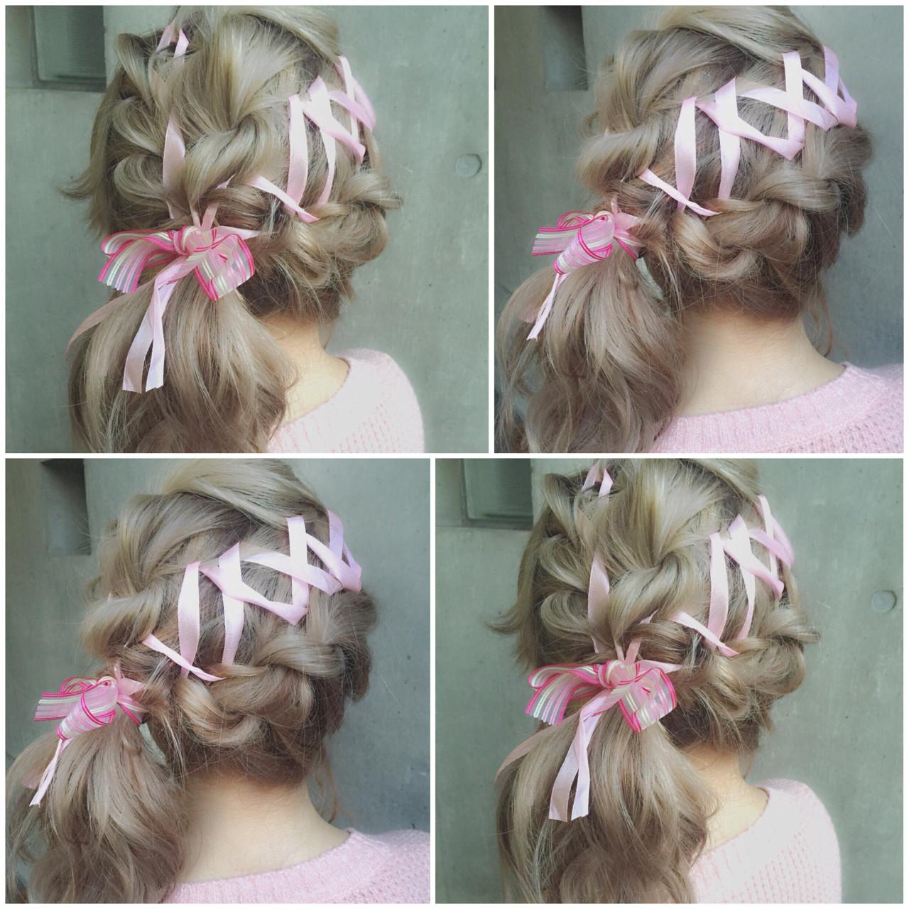 ミディアム 簡単ヘアアレンジ ヘアアレンジ ハーフアップ ヘアスタイルや髪型の写真・画像   MOTAI / Wille / Wille
