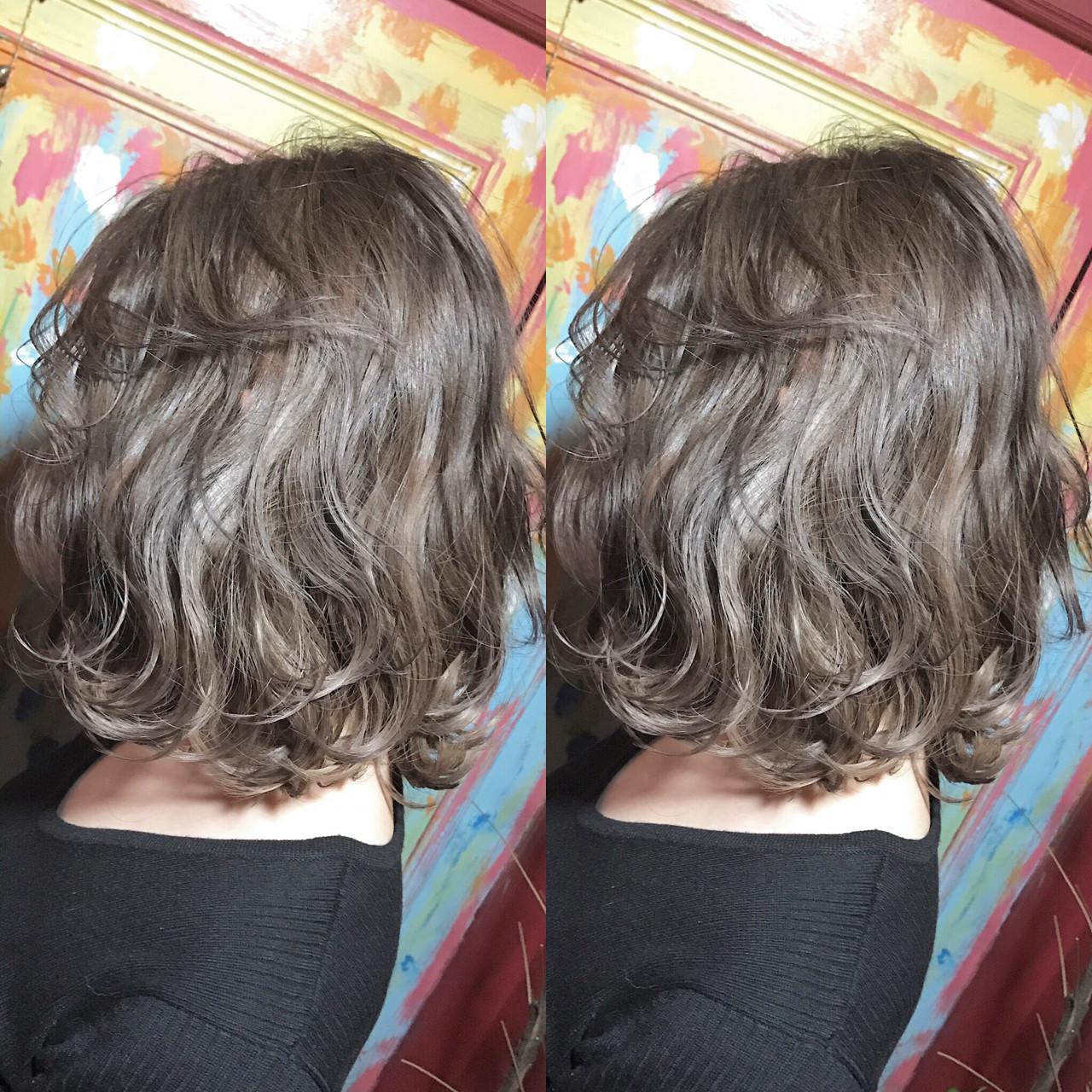 透明感 ハイライト 外国人風 ミディアムヘアスタイルや髪型の写真・画像