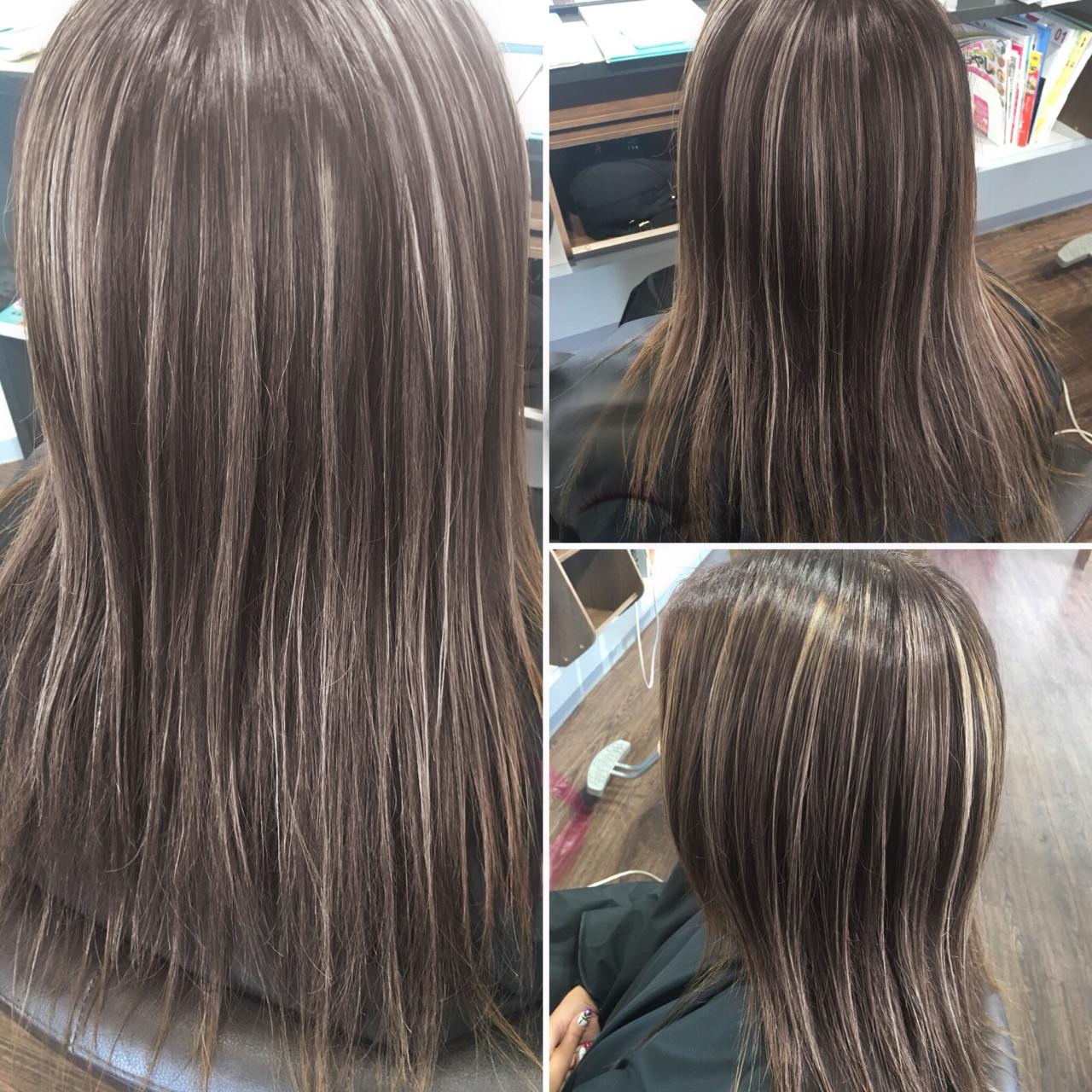 ブリーチ ハイライト 外国人風カラー ナチュラル ヘアスタイルや髪型の写真・画像   エイ / aime