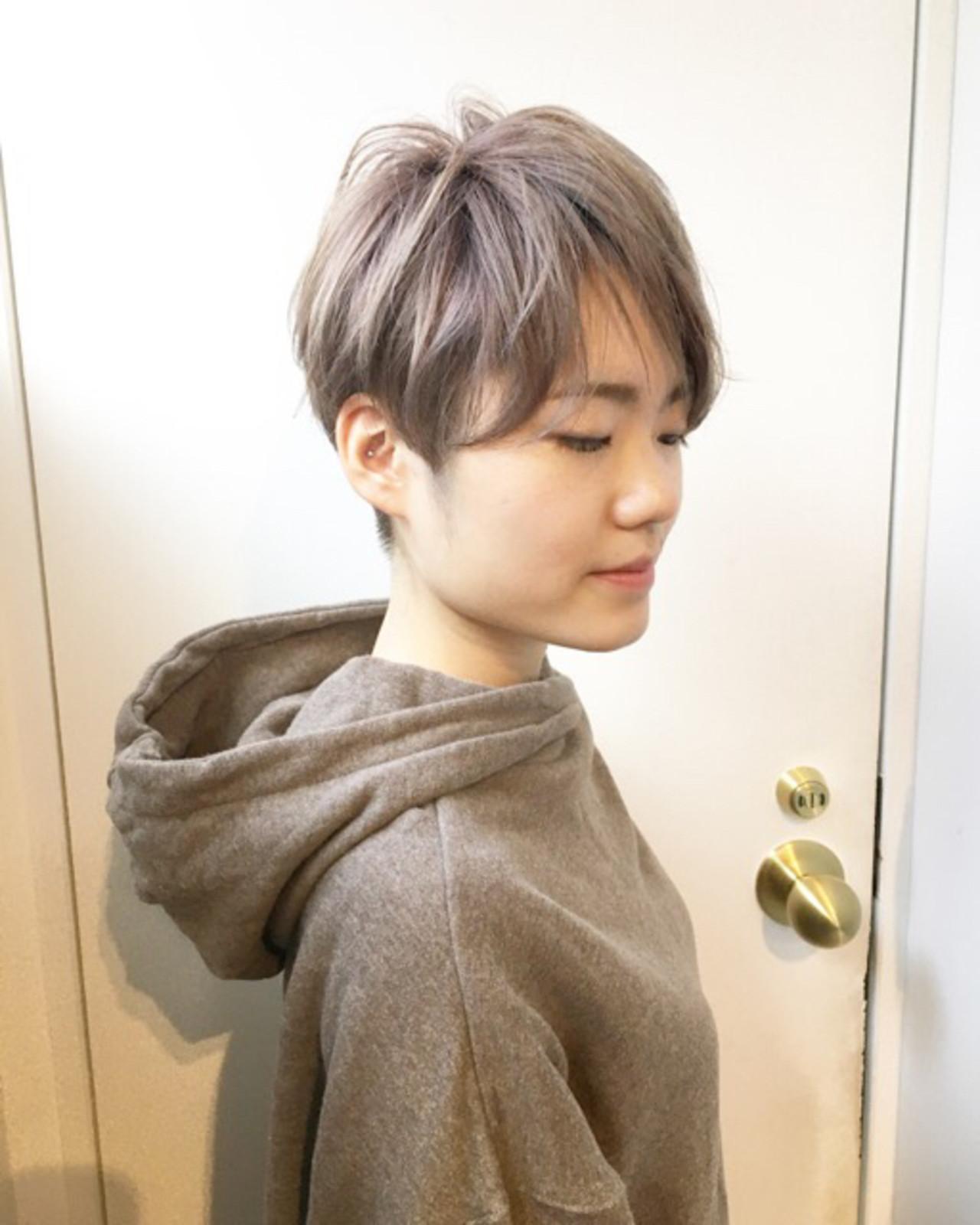 ショート ショートヘア ミントアッシュ アッシュグレージュ ヘアスタイルや髪型の写真・画像 | COM PASS 太一 / COM PASS