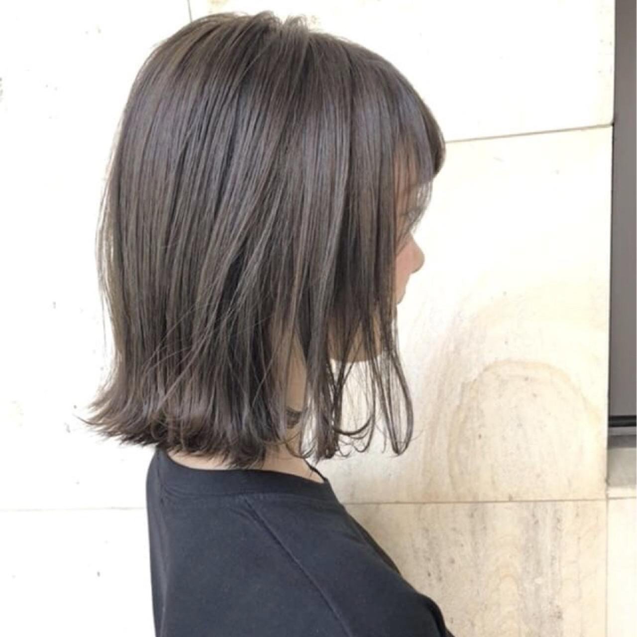 ロブ ナチュラル 切りっぱなし ボブ ヘアスタイルや髪型の写真・画像 | 日比野 恵理 / hair people原宿