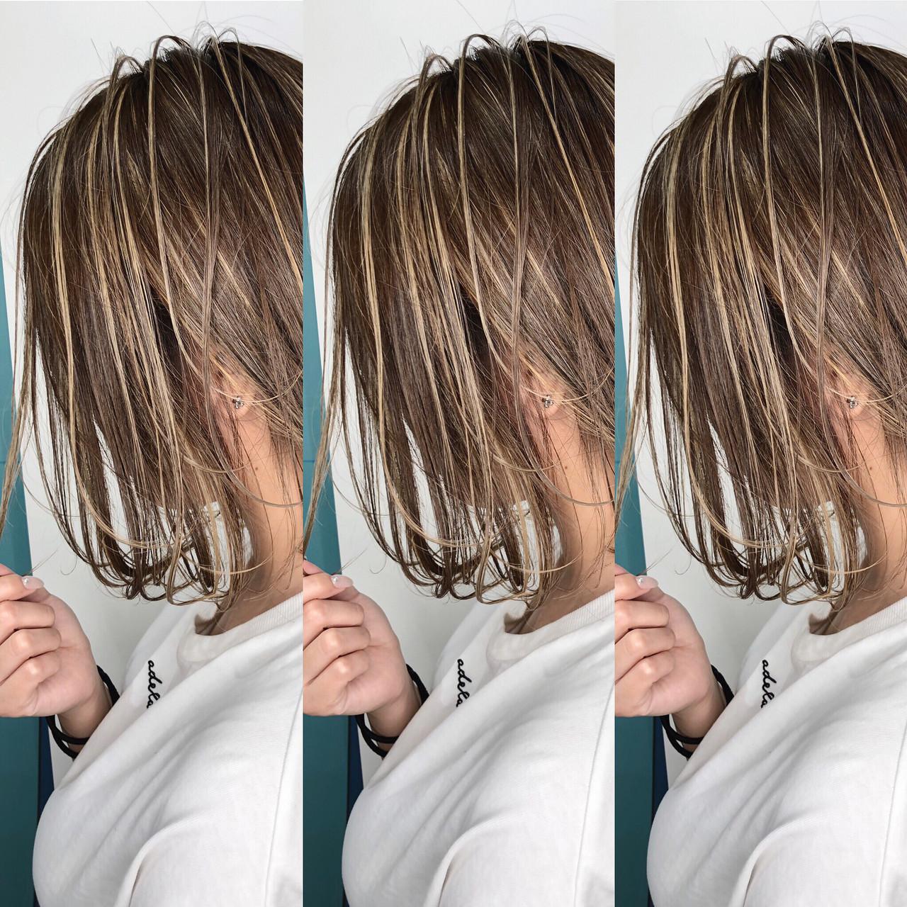 ハイライト 3Dハイライト ボブ 外国人風カラーヘアスタイルや髪型の写真・画像