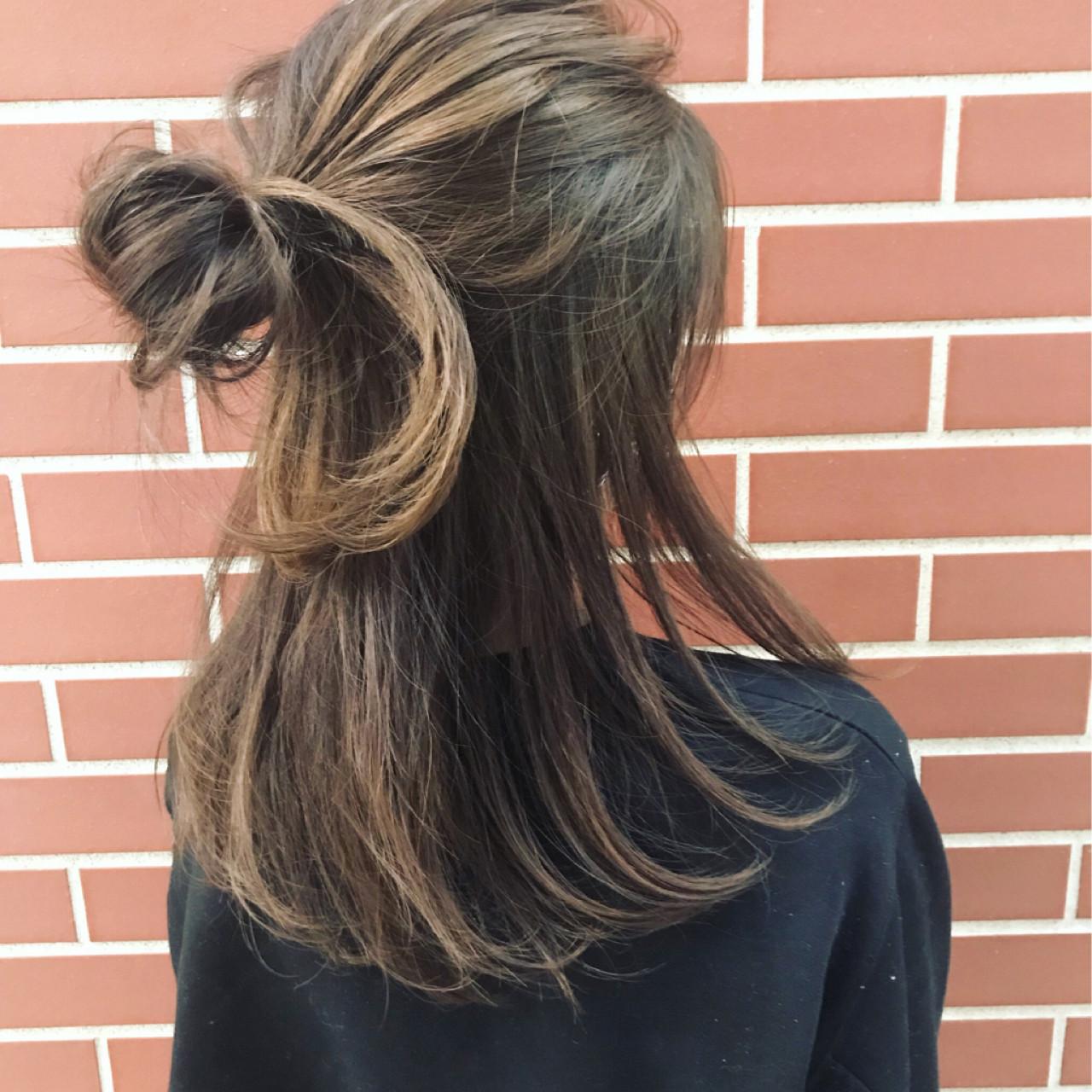 ハーフアップ ストリート ヘアアレンジ ショート ヘアスタイルや髪型の写真・画像   遠藤広陵 / mod's hair仙台PARCO店
