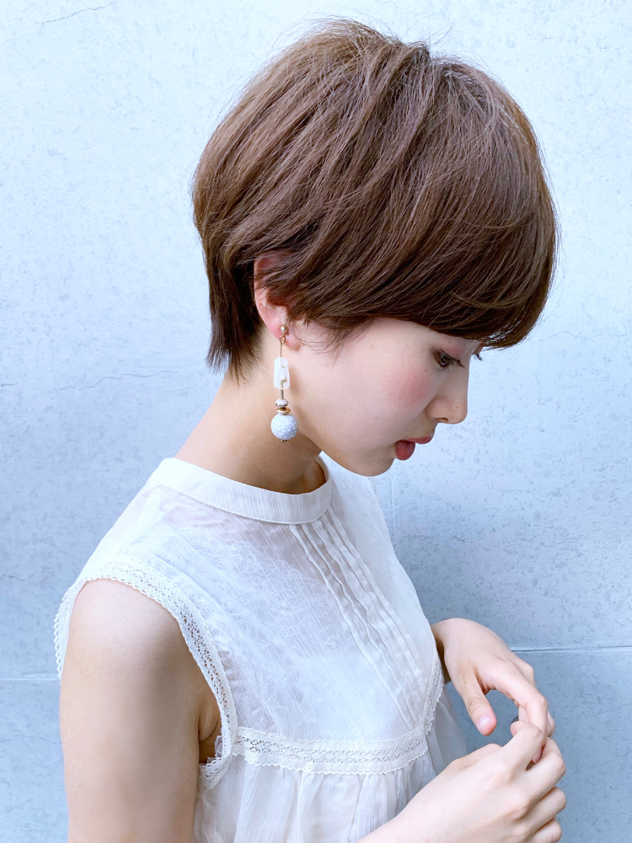 ショートボブ ショート モテボブ ナチュラル ヘアスタイルや髪型の写真・画像 | 米村ススム / morio from London narimasu3