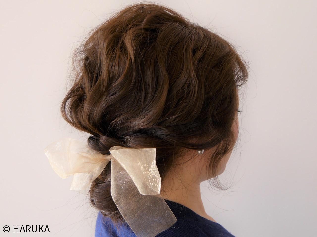 簡単ヘアアレンジ ヘアアレンジ セミロング ゆるふわ ヘアスタイルや髪型の写真・画像 | HARUKA / CHAMBRE.