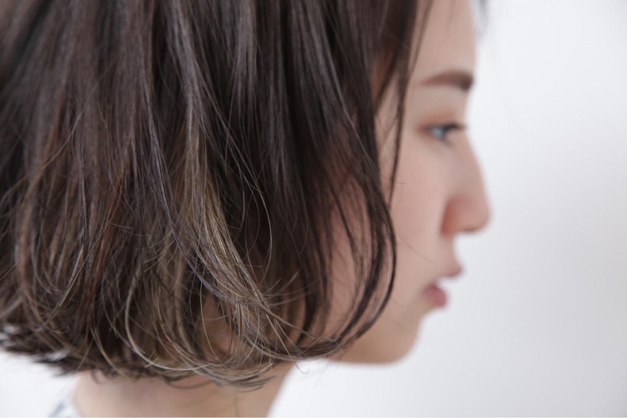 色気 モード ボブ インナーカラー ヘアスタイルや髪型の写真・画像 | 畑山拓也 / Baco.