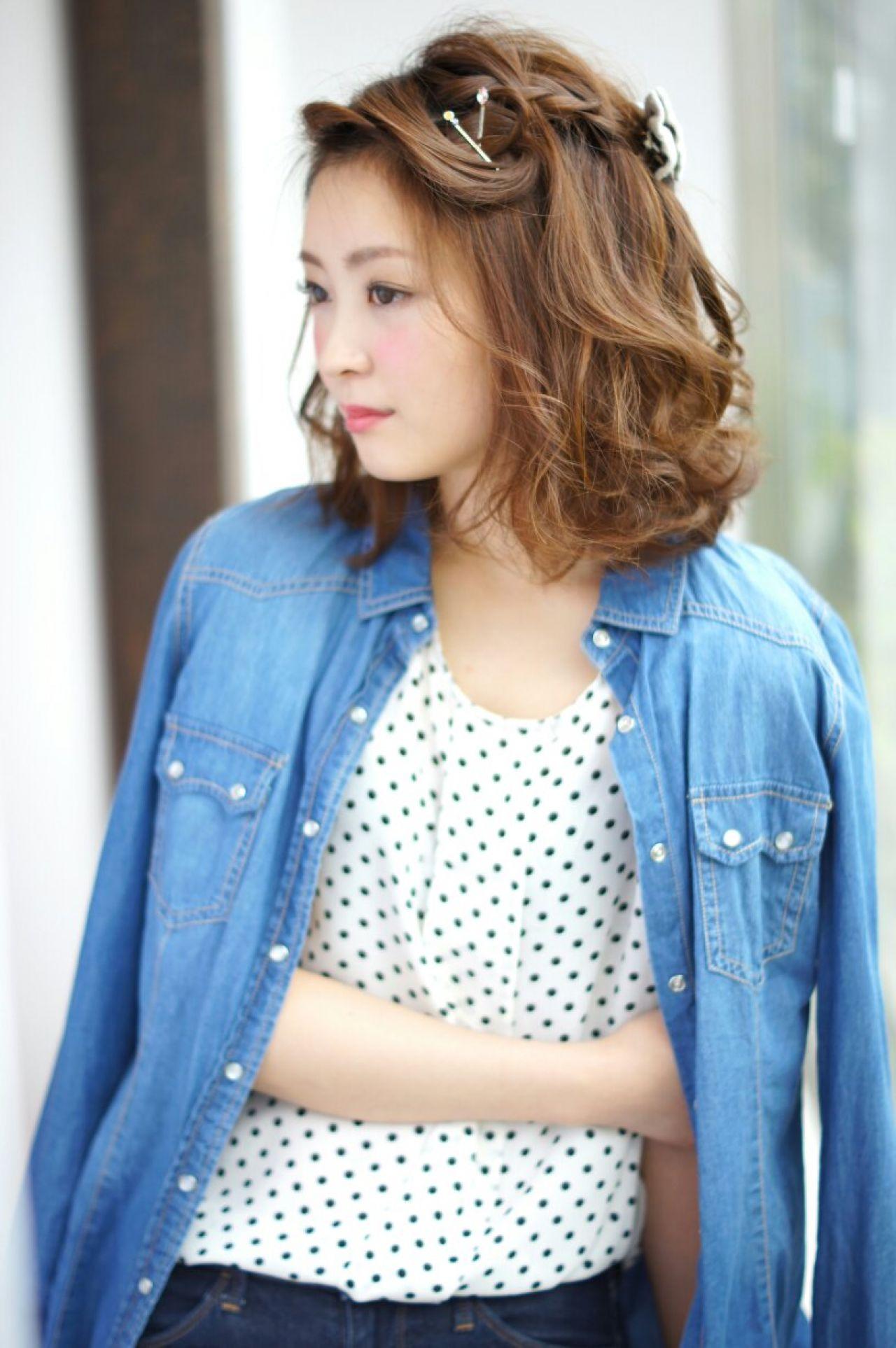 ストリート 前髪なし ヘアアレンジ 編み込みヘアスタイルや髪型の写真・画像