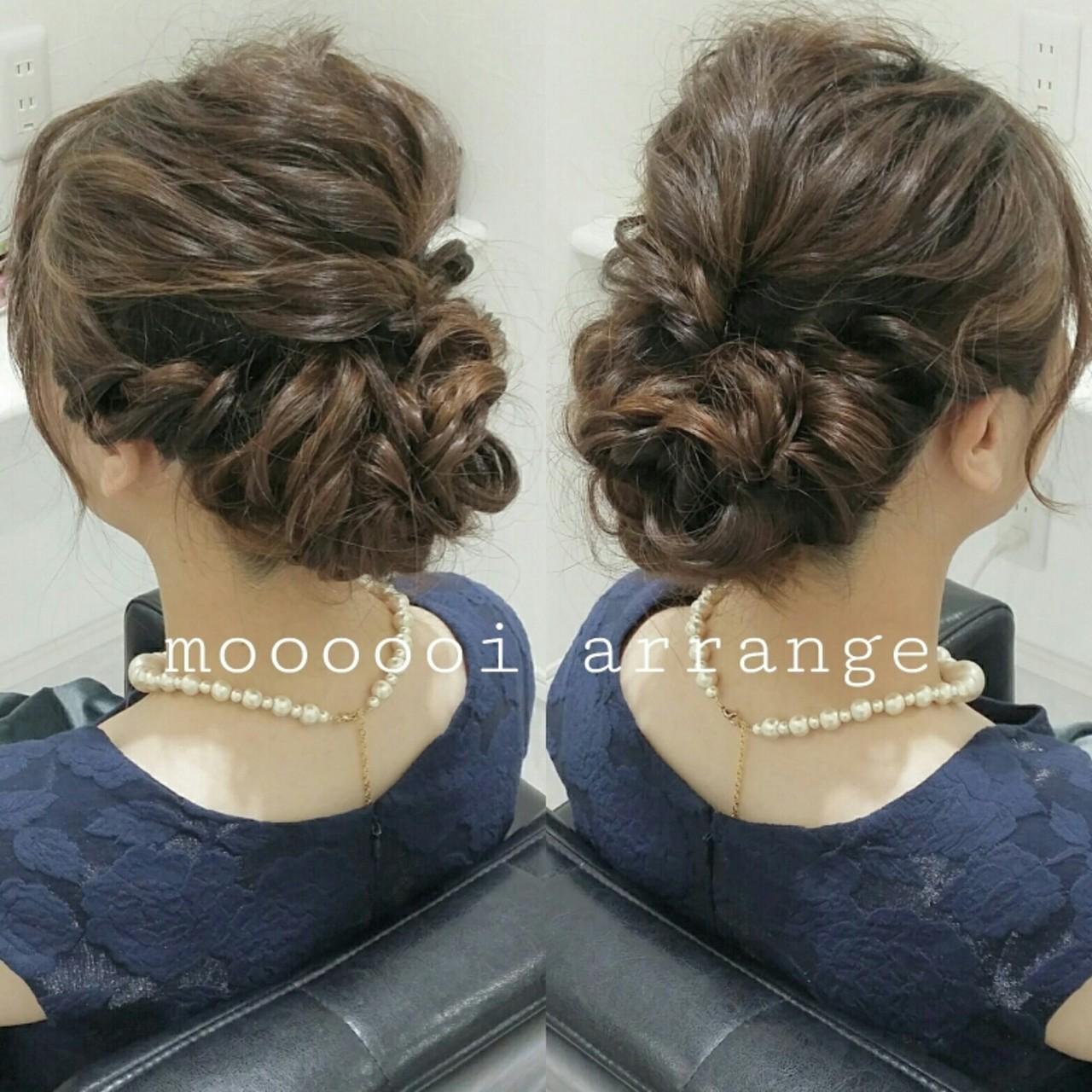 編み込み ヘアアレンジ ミディアム ゆるふわヘアスタイルや髪型の写真・画像