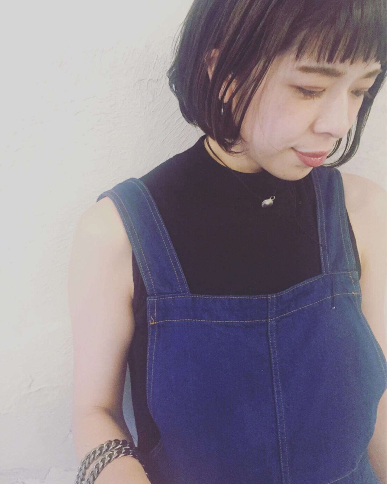 ボブ ガーリー 黒髪 暗髪 ヘアスタイルや髪型の写真・画像 | miki takami / Henri