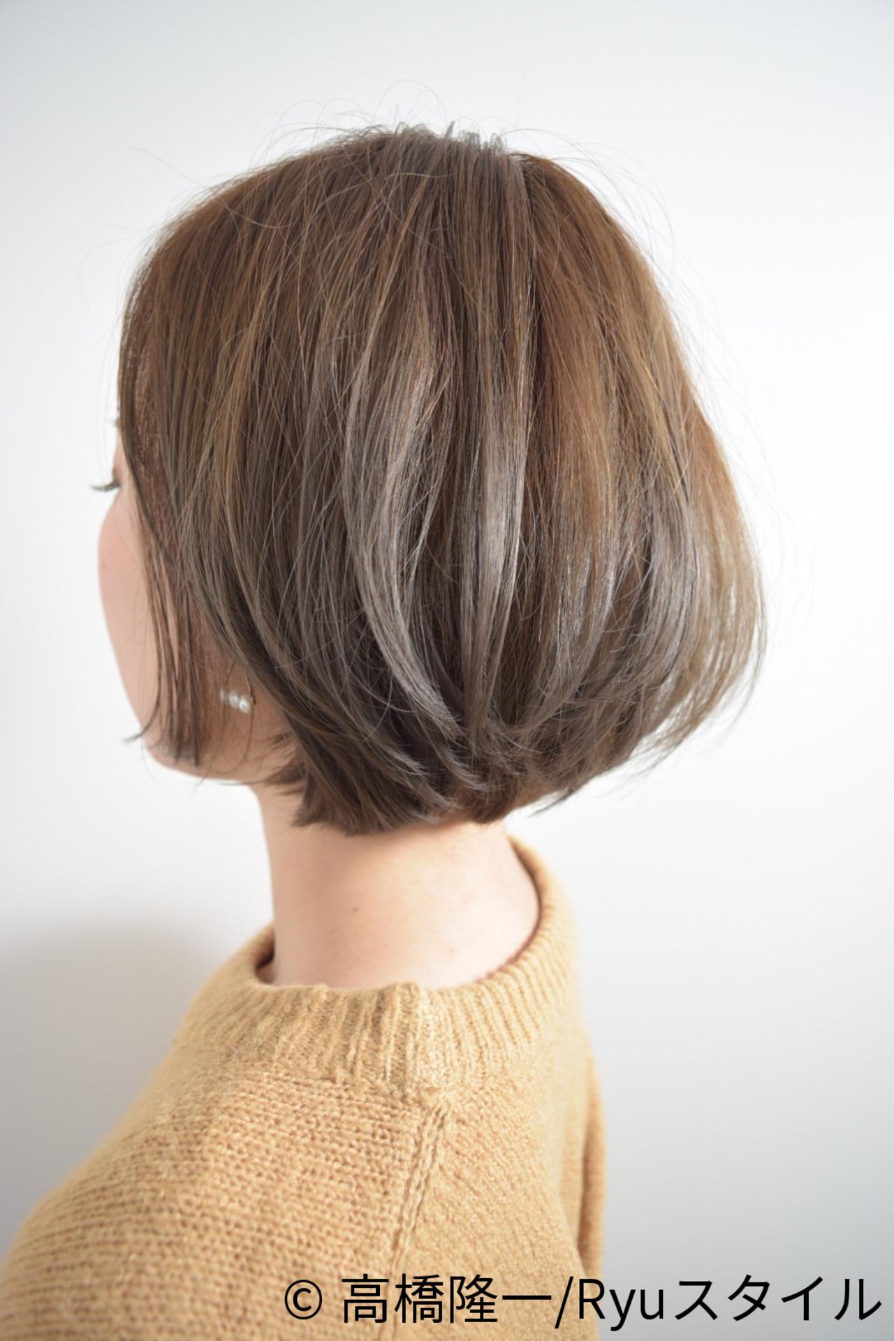ナチュラル イルミナカラー ハイライト ショートボブ ヘアスタイルや髪型の写真・画像 | 高橋隆一/Ryuスタイル / hair&make  bis       group by ZEST