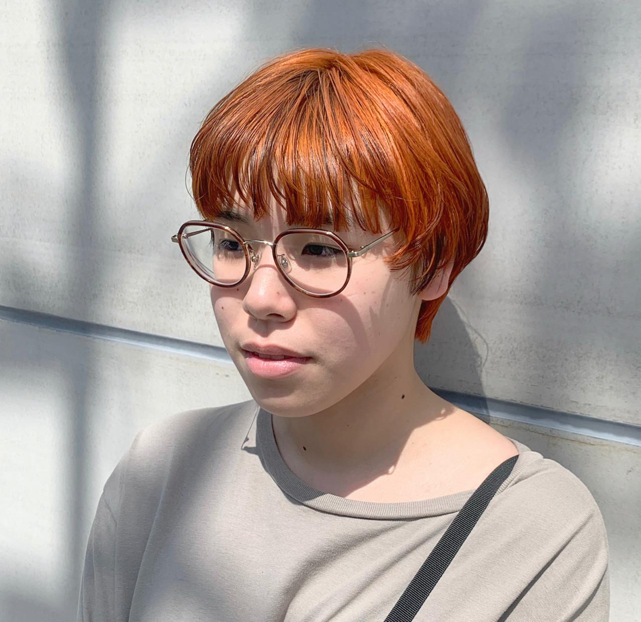 オレンジカラー ショート マッシュ ナチュラル ヘアスタイルや髪型の写真・画像 | 園田 健太 / Saffy
