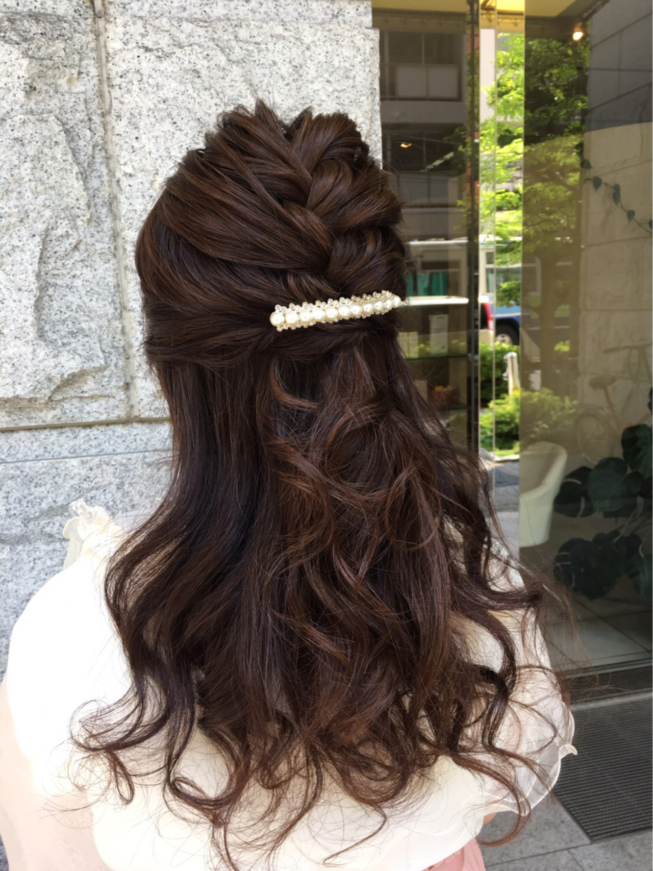 編み込み フェミニン ロング ブライダル ヘアスタイルや髪型の写真・画像 | 福光 柚香里 / refre&care MICHI