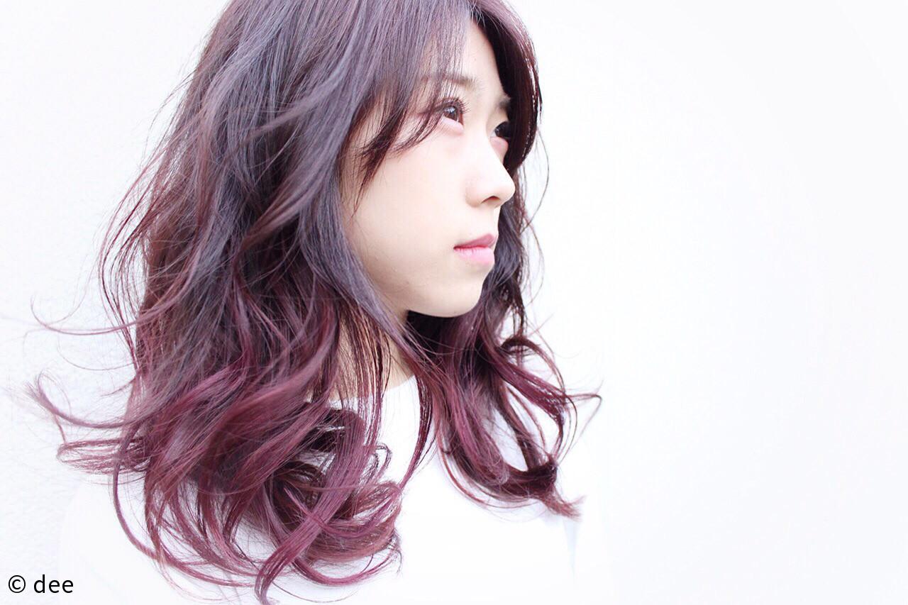 ピンク ナチュラル グラデーションカラー パープルヘアスタイルや髪型の写真・画像