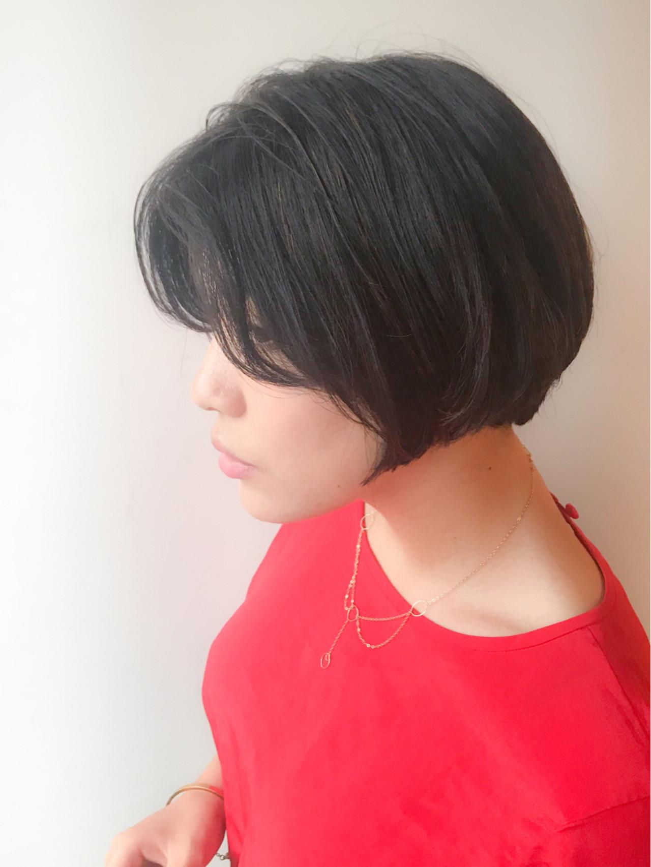 オフィス モテ髪 ショートボブ コンサバ ヘアスタイルや髪型の写真・画像 | HIROKI / roijir / roijir