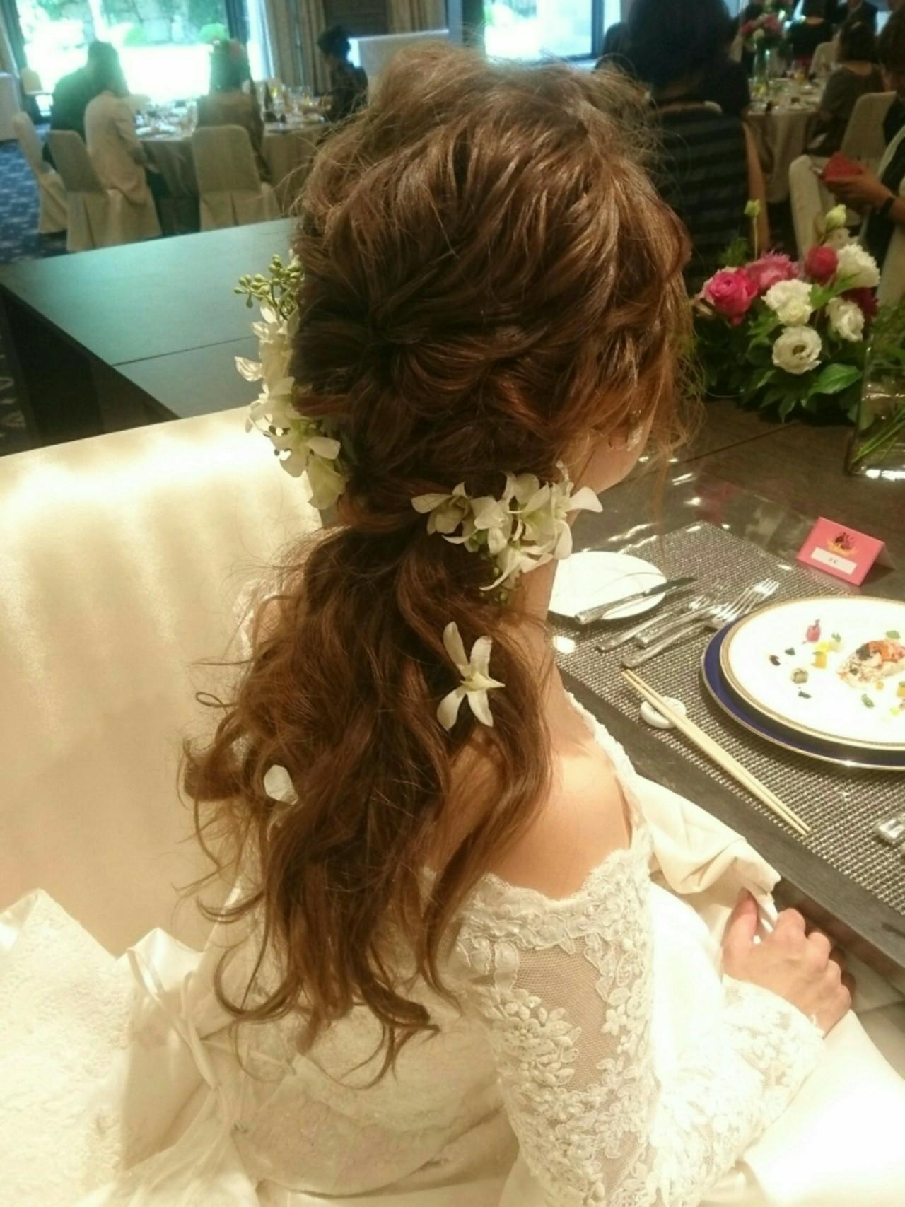 フェミニン ロング 結婚式 こなれ感 ヘアスタイルや髪型の写真・画像   島田 和也 / total beauty house flap MICHI
