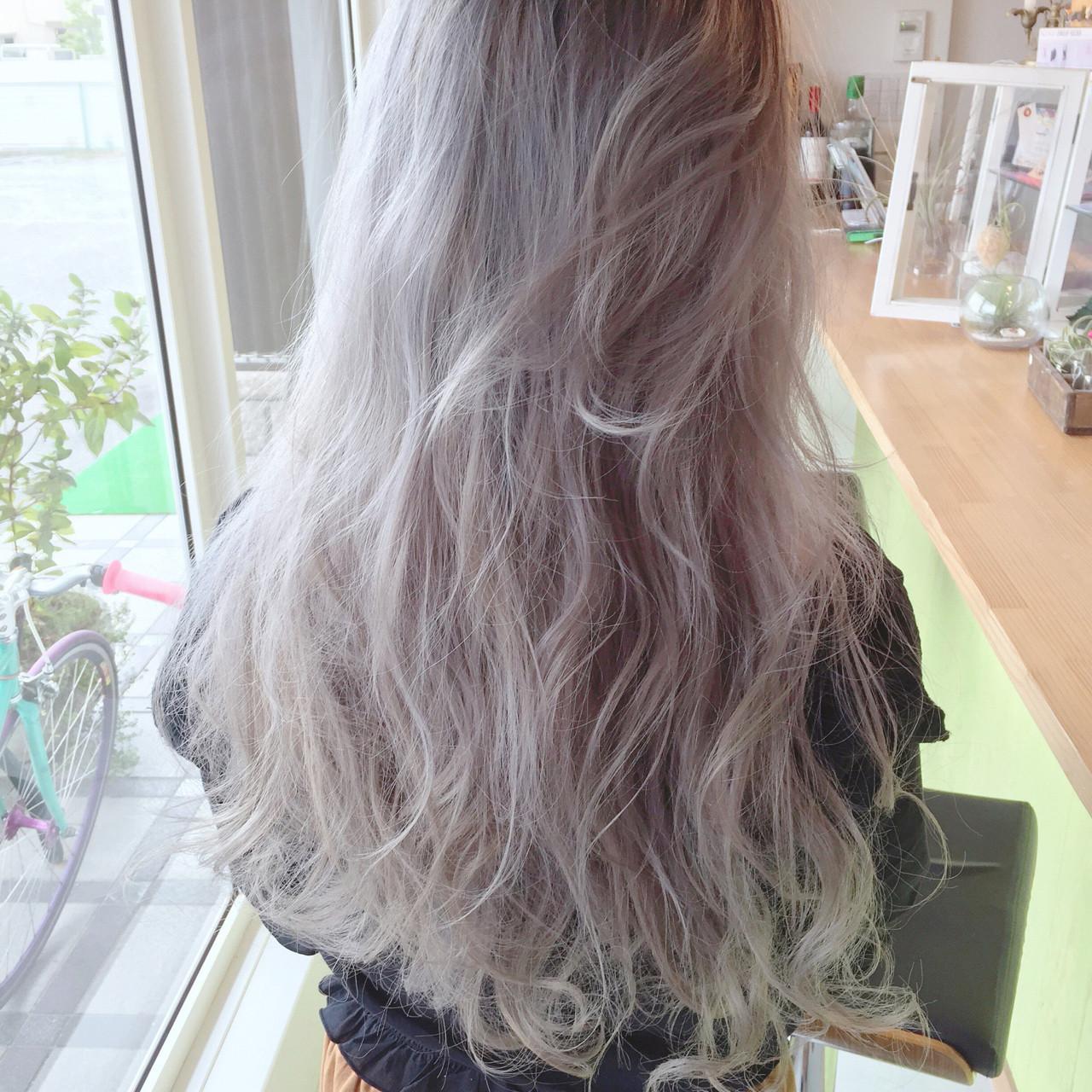 ロング アッシュ ホワイト ストリート ヘアスタイルや髪型の写真・画像 | 原木翔太 / lufun hair design  ルファン