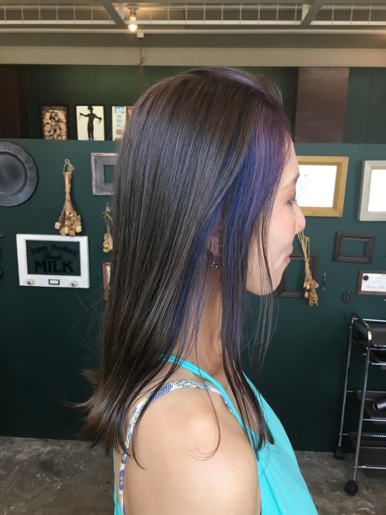 ストリート パープル セミロング インナーカラー ヘアスタイルや髪型の写真・画像 | 岩垂 和枝 / hair make design paf